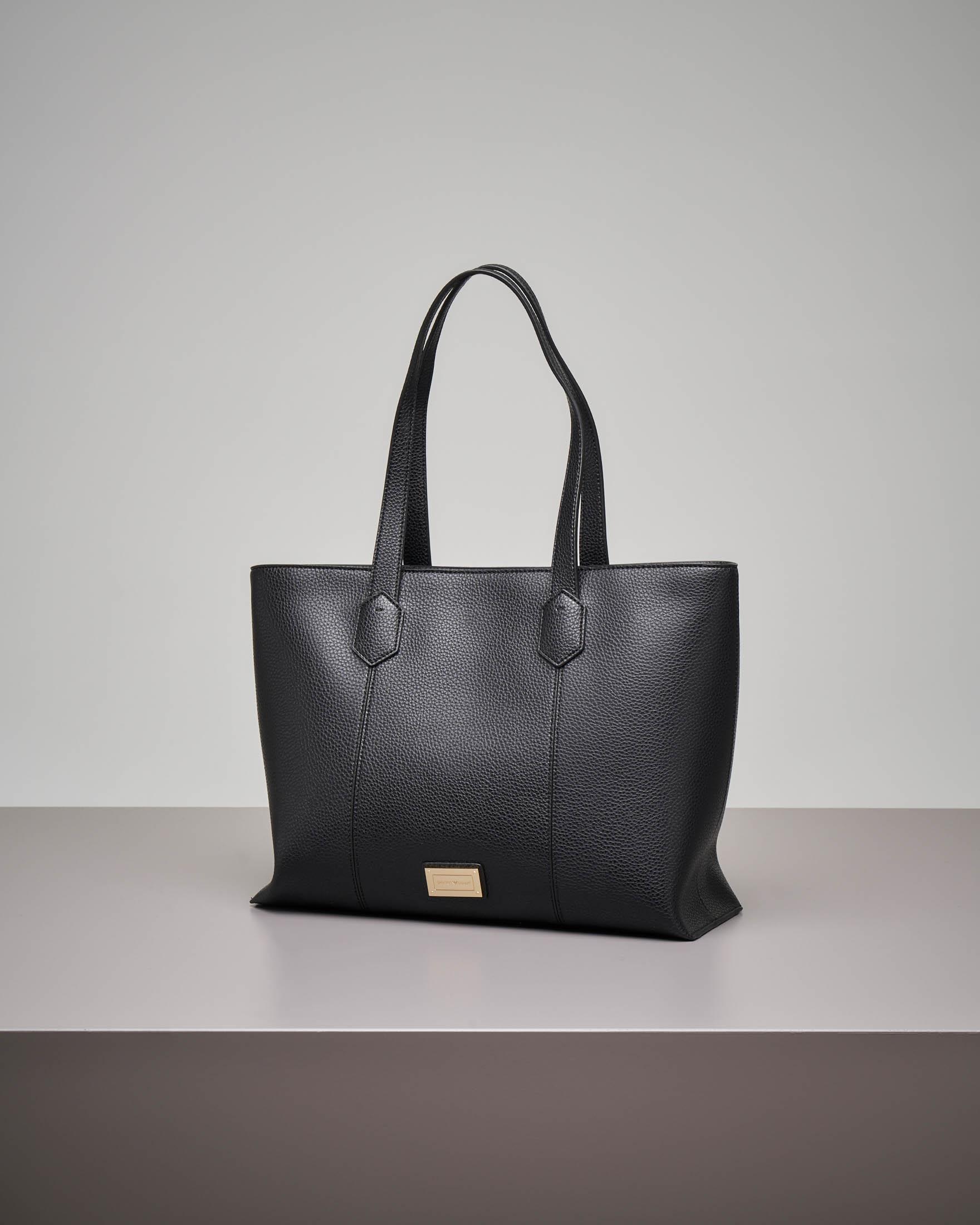 Shopping bag nera morbida misura grande