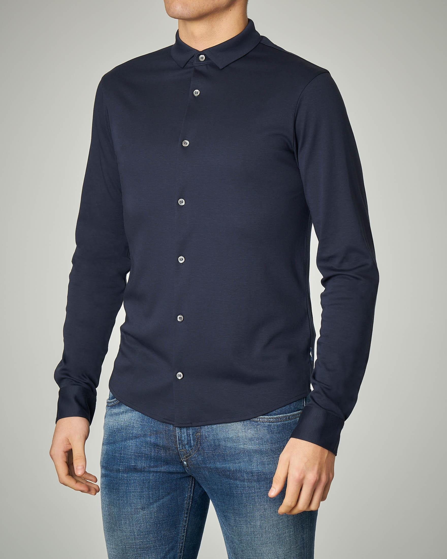 Camicia blu in interlock di cotone