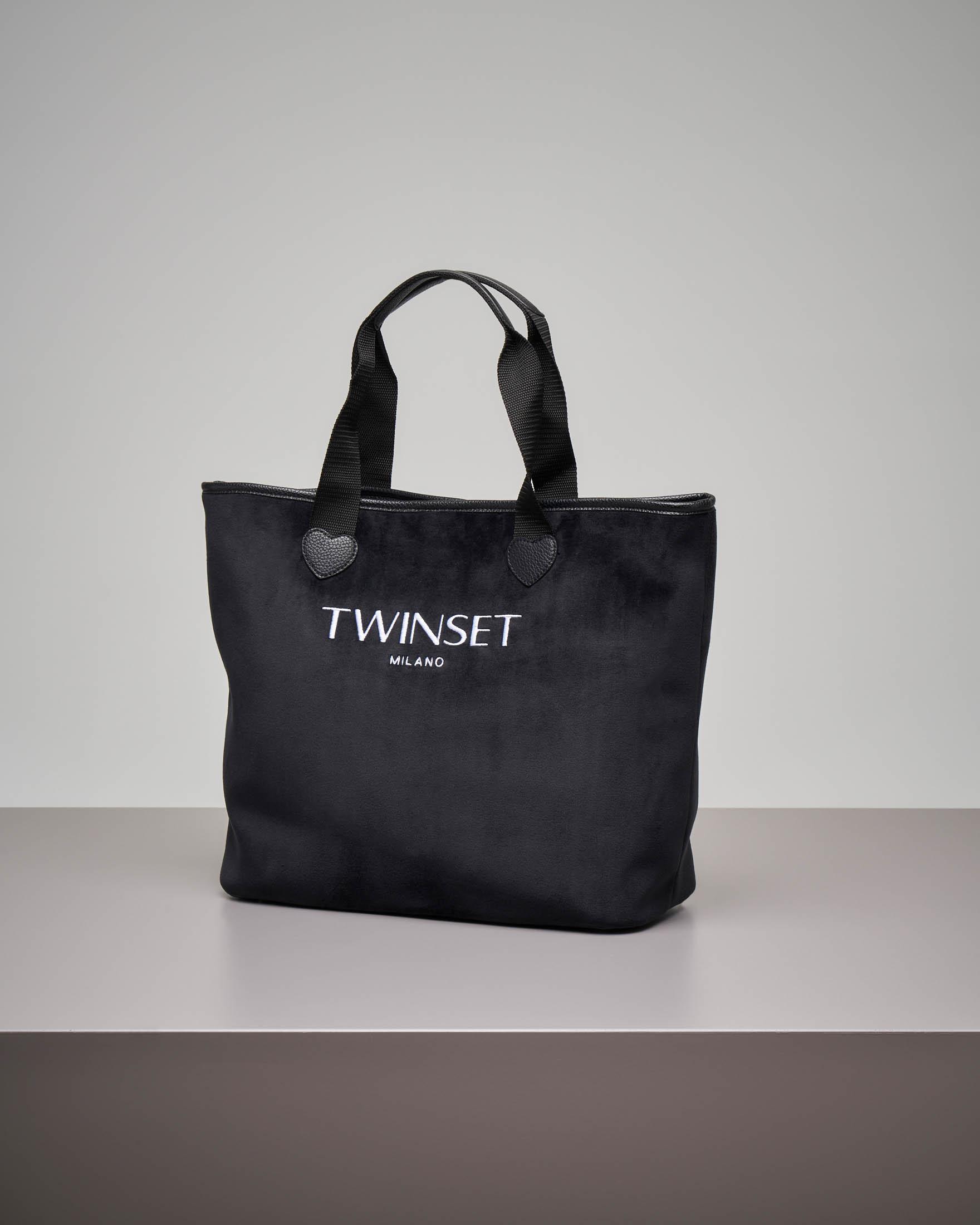 Shopping bag nera in velluto misura grande