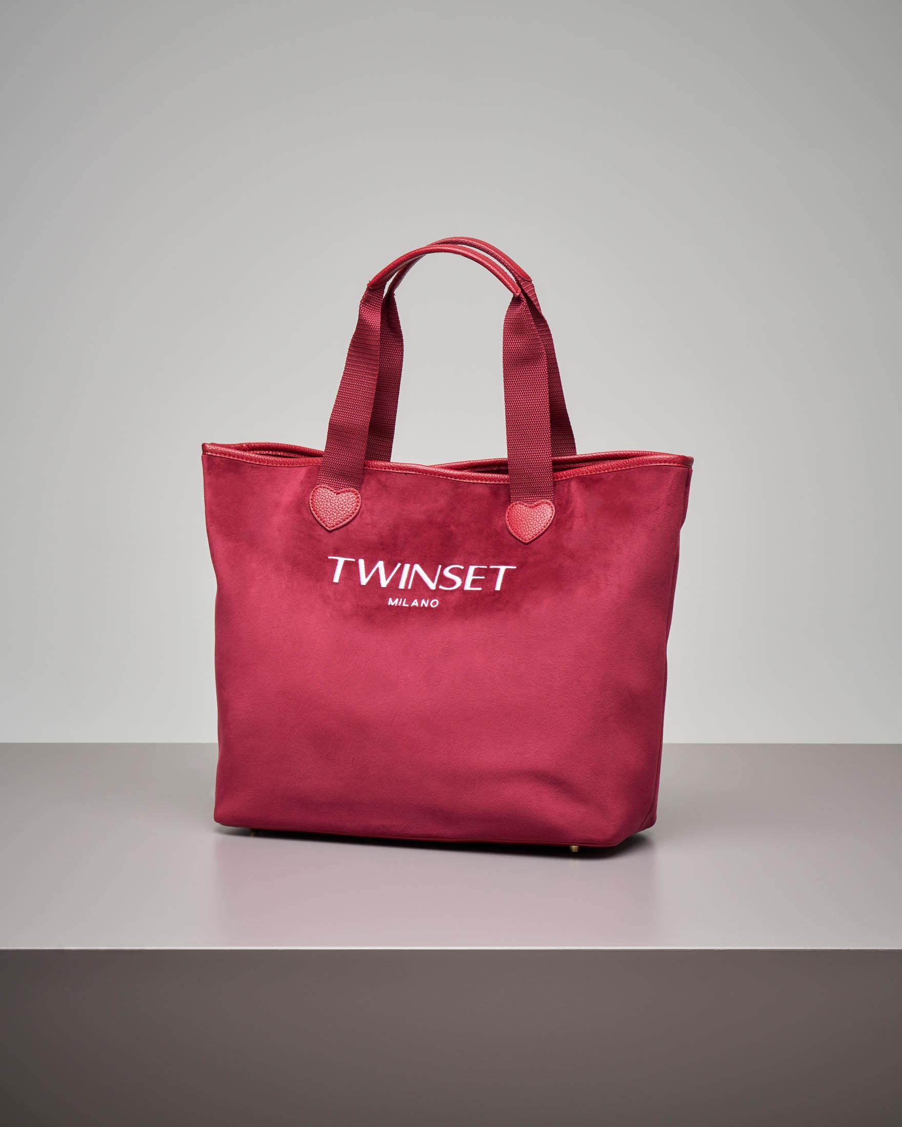 Shopping bag rossa in velluto misura grande