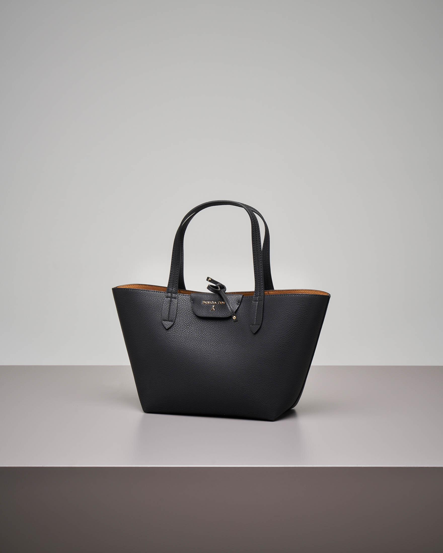 Shopping bag reversibile nero cuoio misura piccola