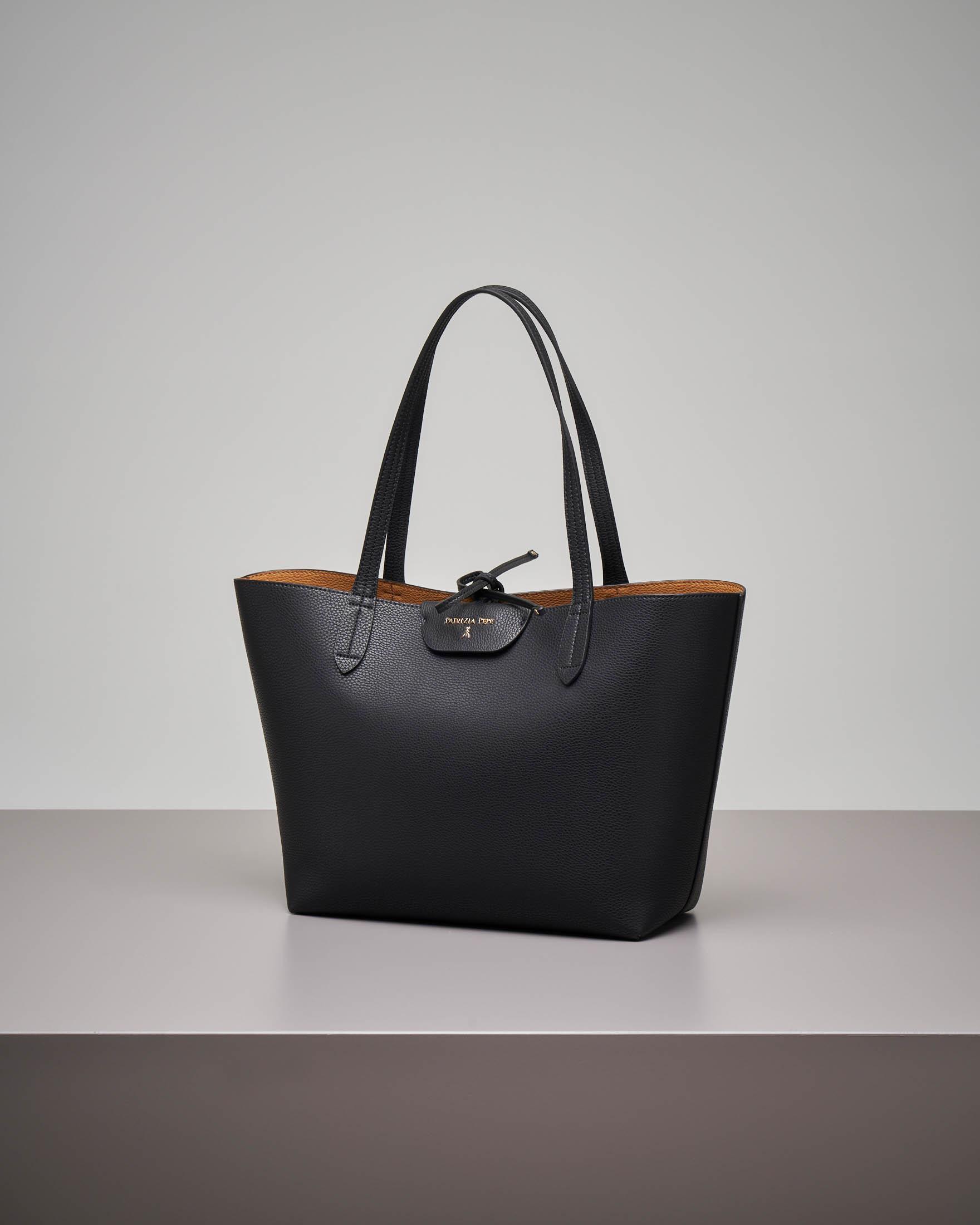 Shopping bag reversibile nero cuoio