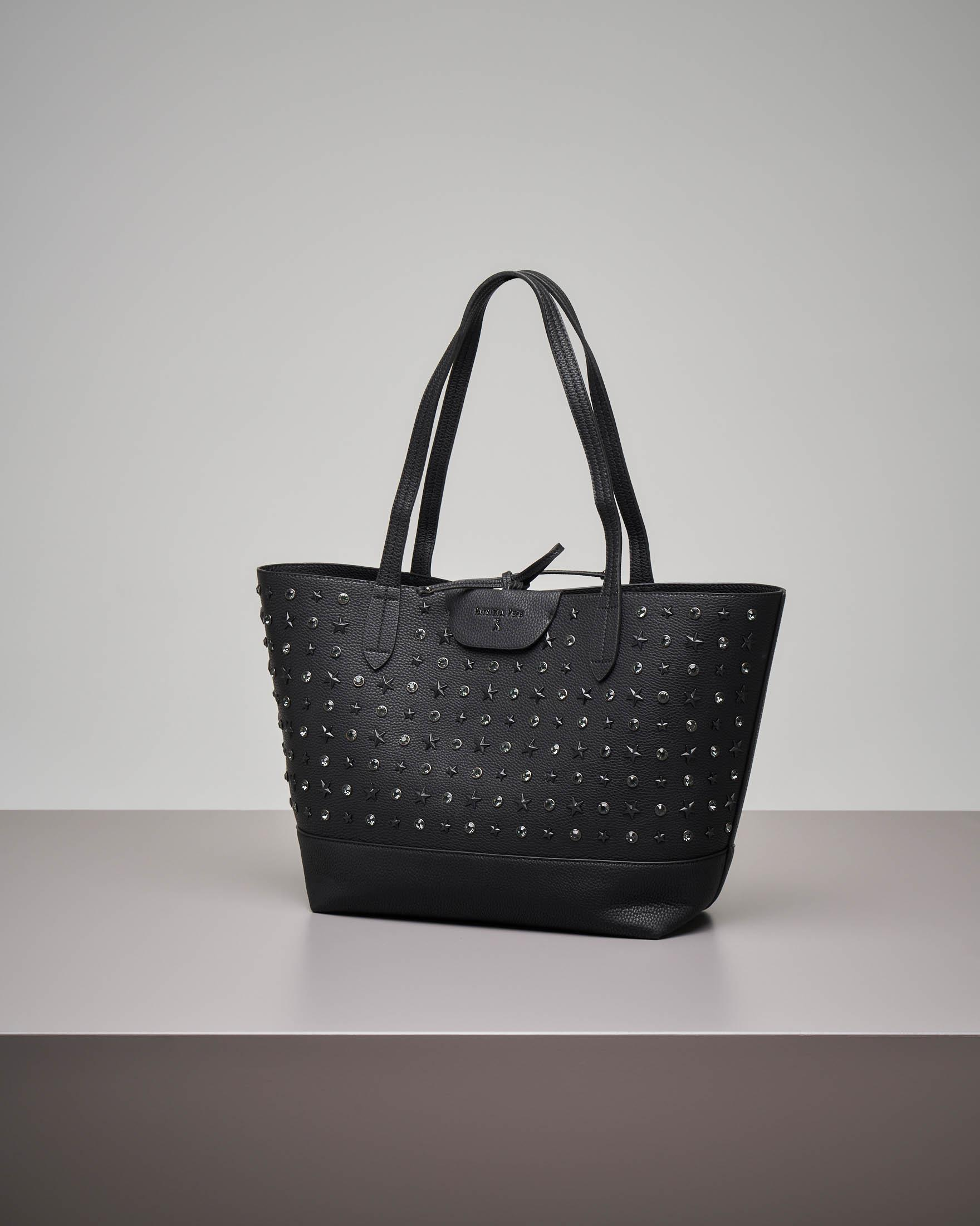 Shopping bag nera con borchie e strass applicati