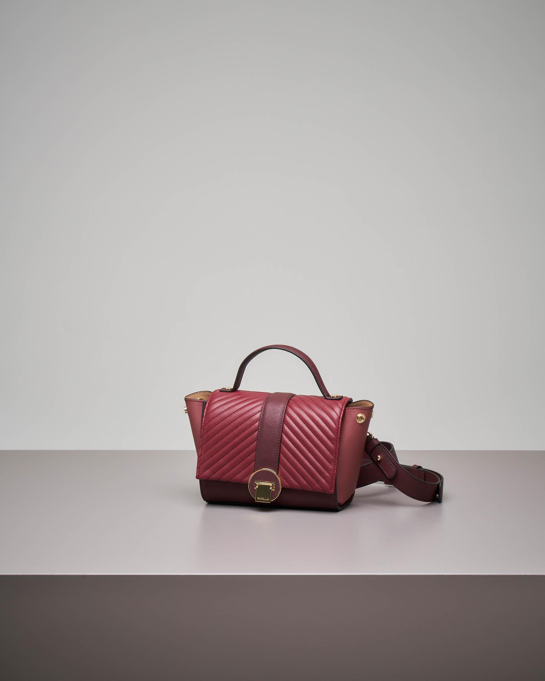 Mini bag bordeaux con patta intercambiabile beige e bordeaux