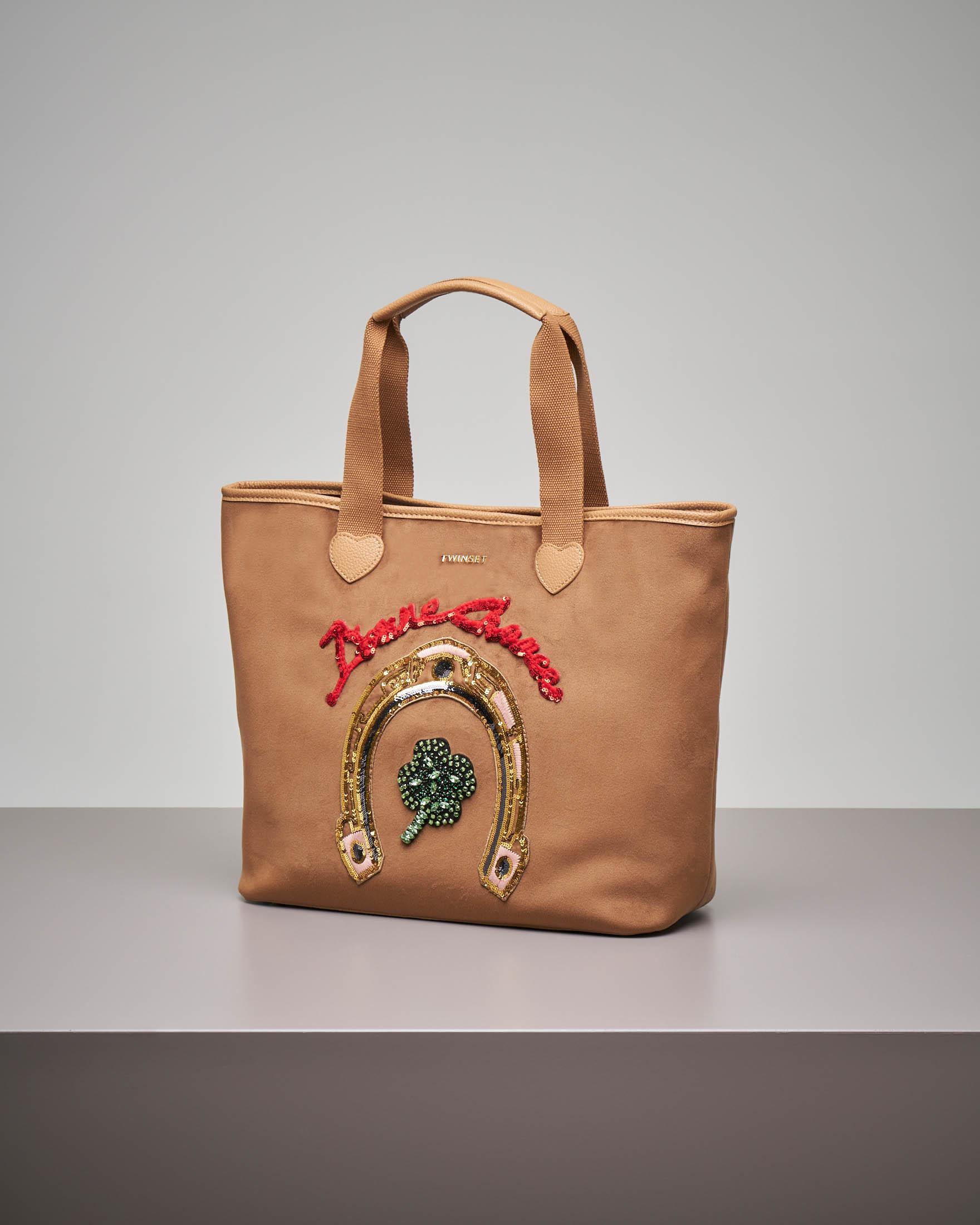 Shopping bag cammello in velluto con ricami in strass e paillettes