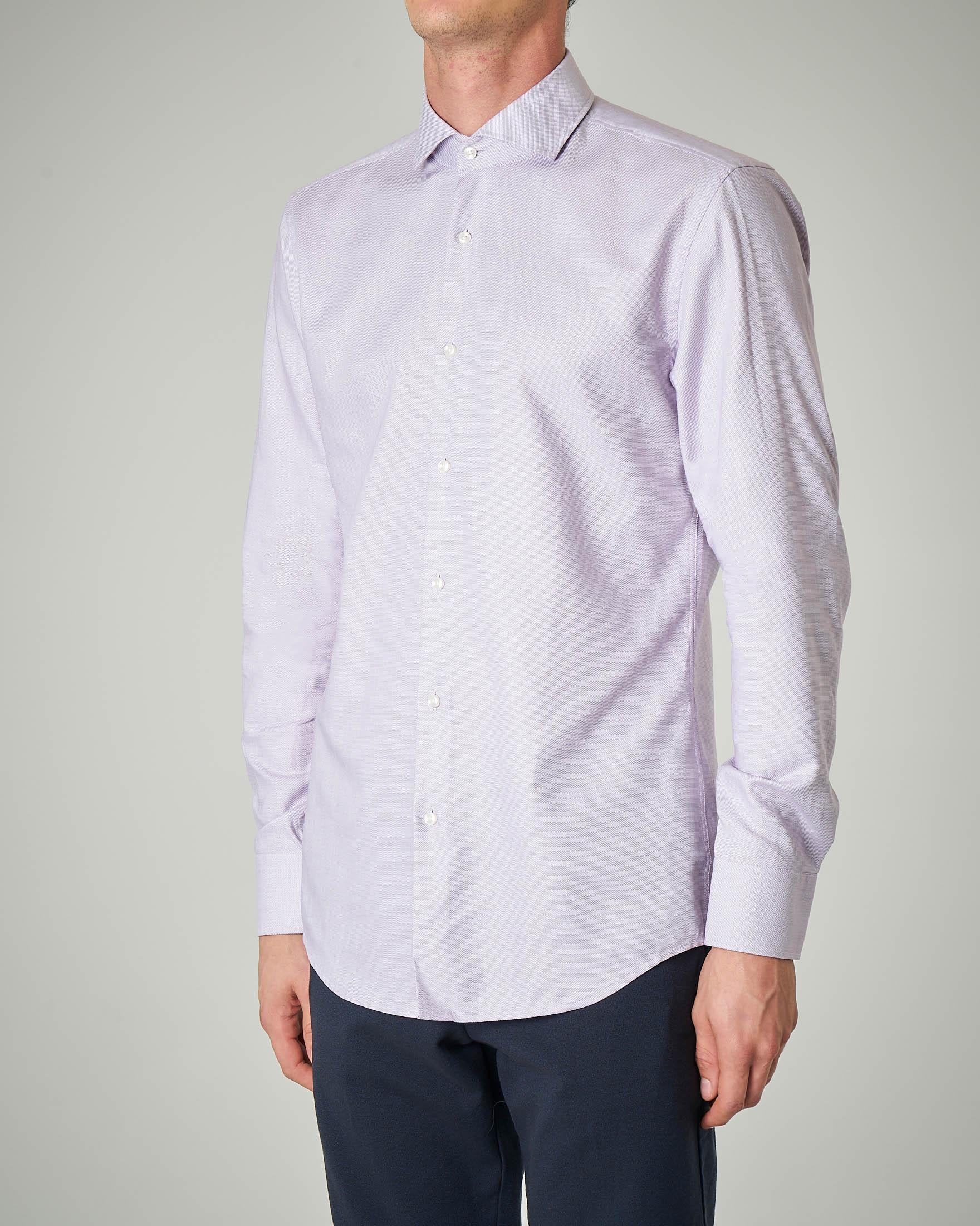 Camicia lilla in twill cotone micro-fantasia