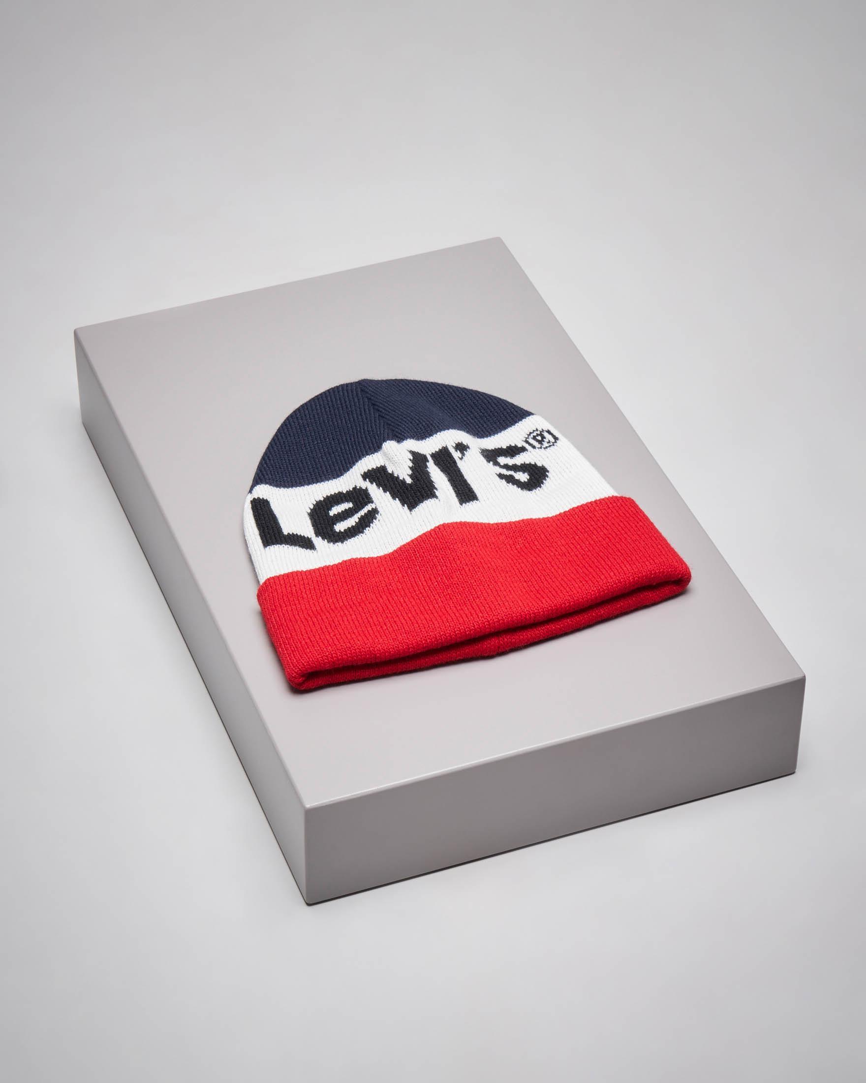 Berretto tricolore rosso bianco e blu con logo