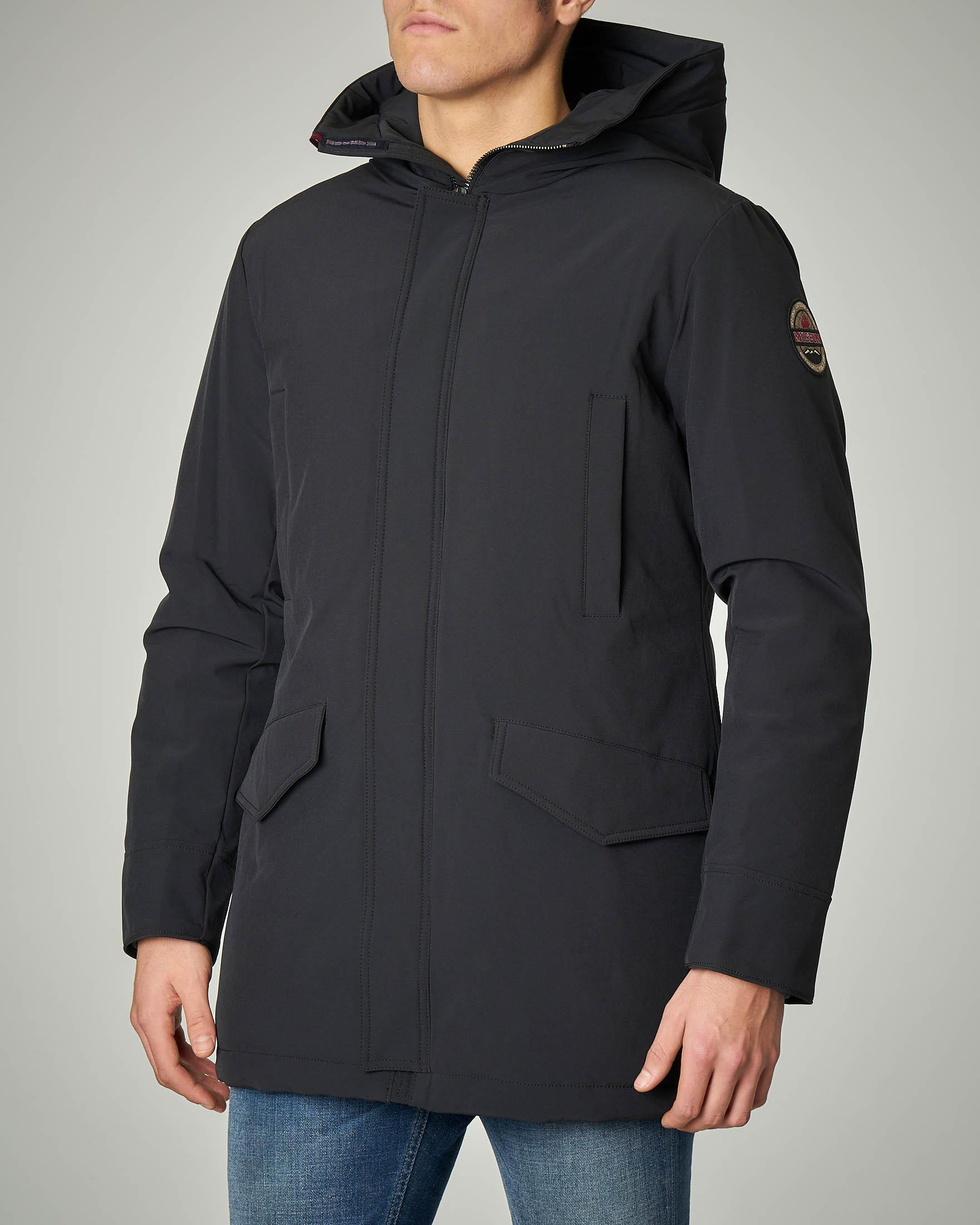 Parka nero in Soft Shell