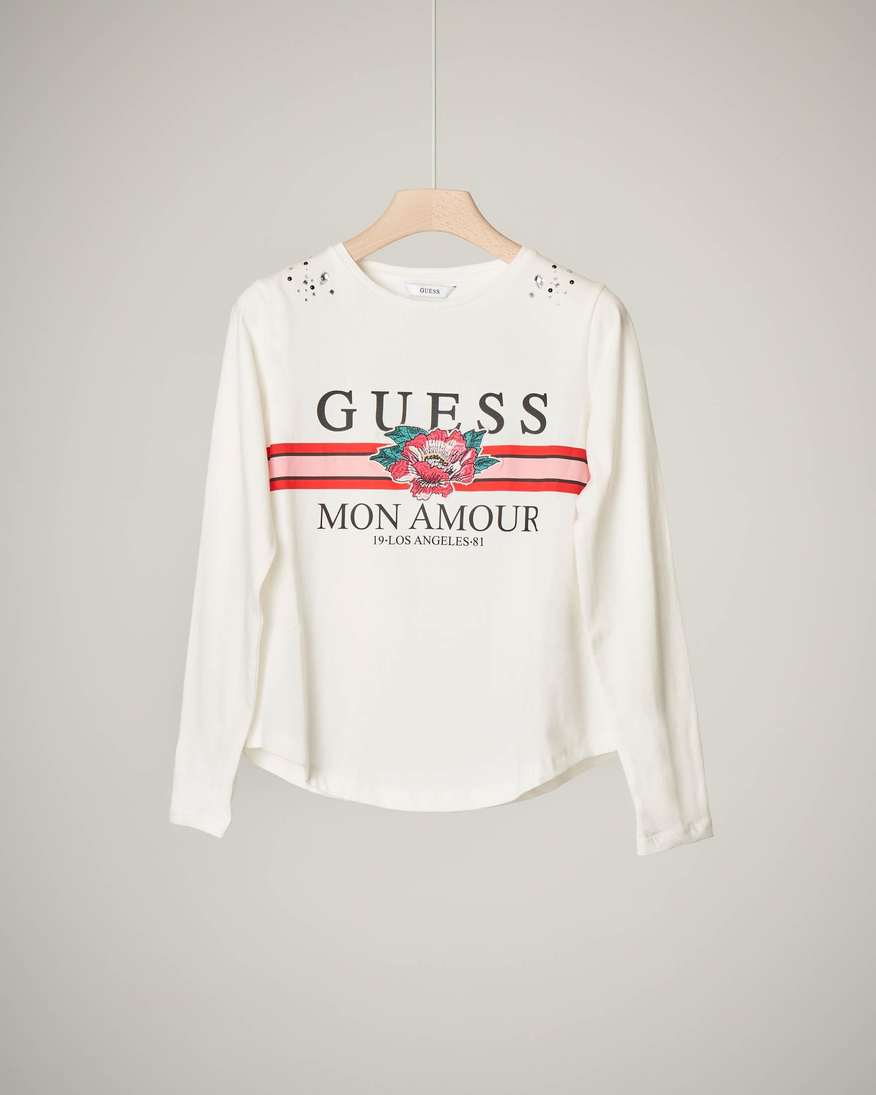 T-shirt bianca con ricamo e stampa