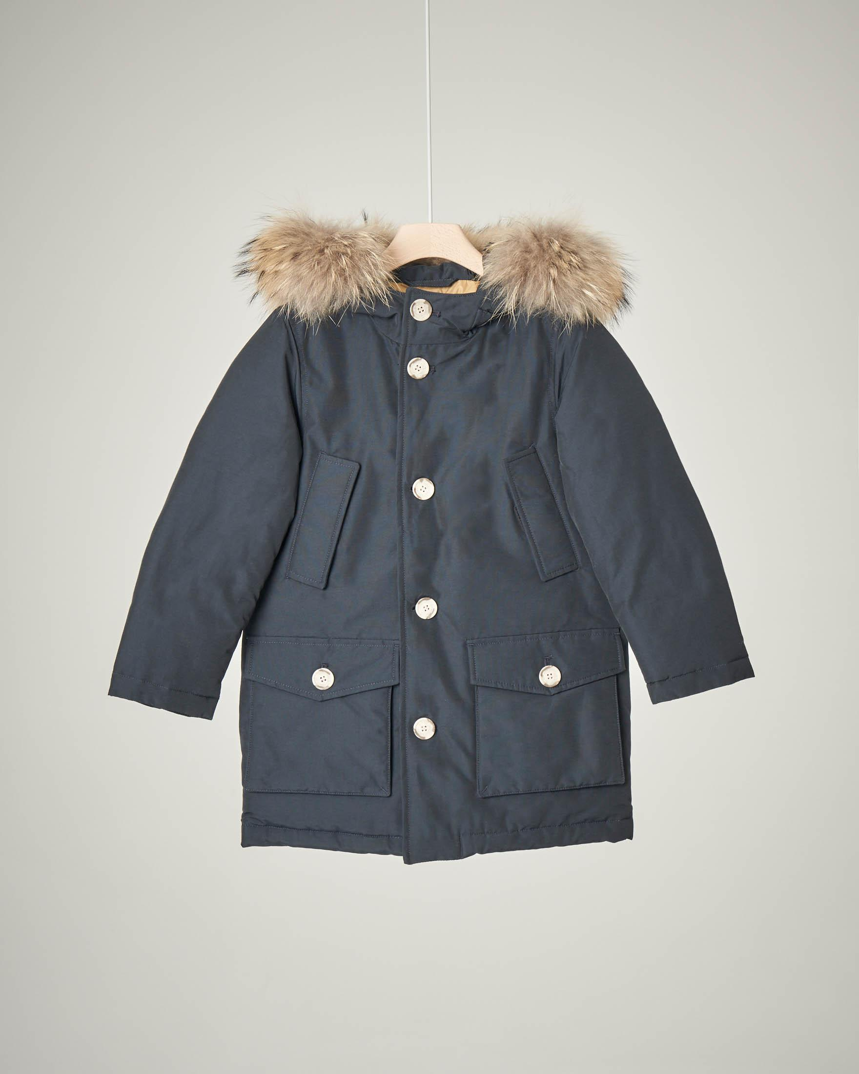 Parka detachable fur blu navy 4-6 anni