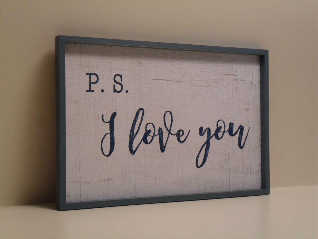 Pannello decorativo in legno bianco e blu i love you con cornice