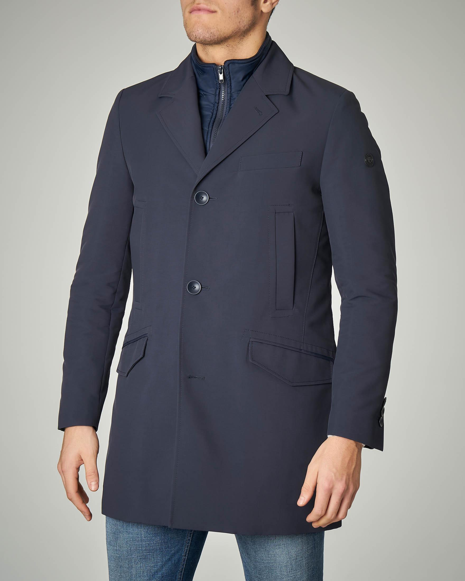Cappotto impermeabile blu con davantino