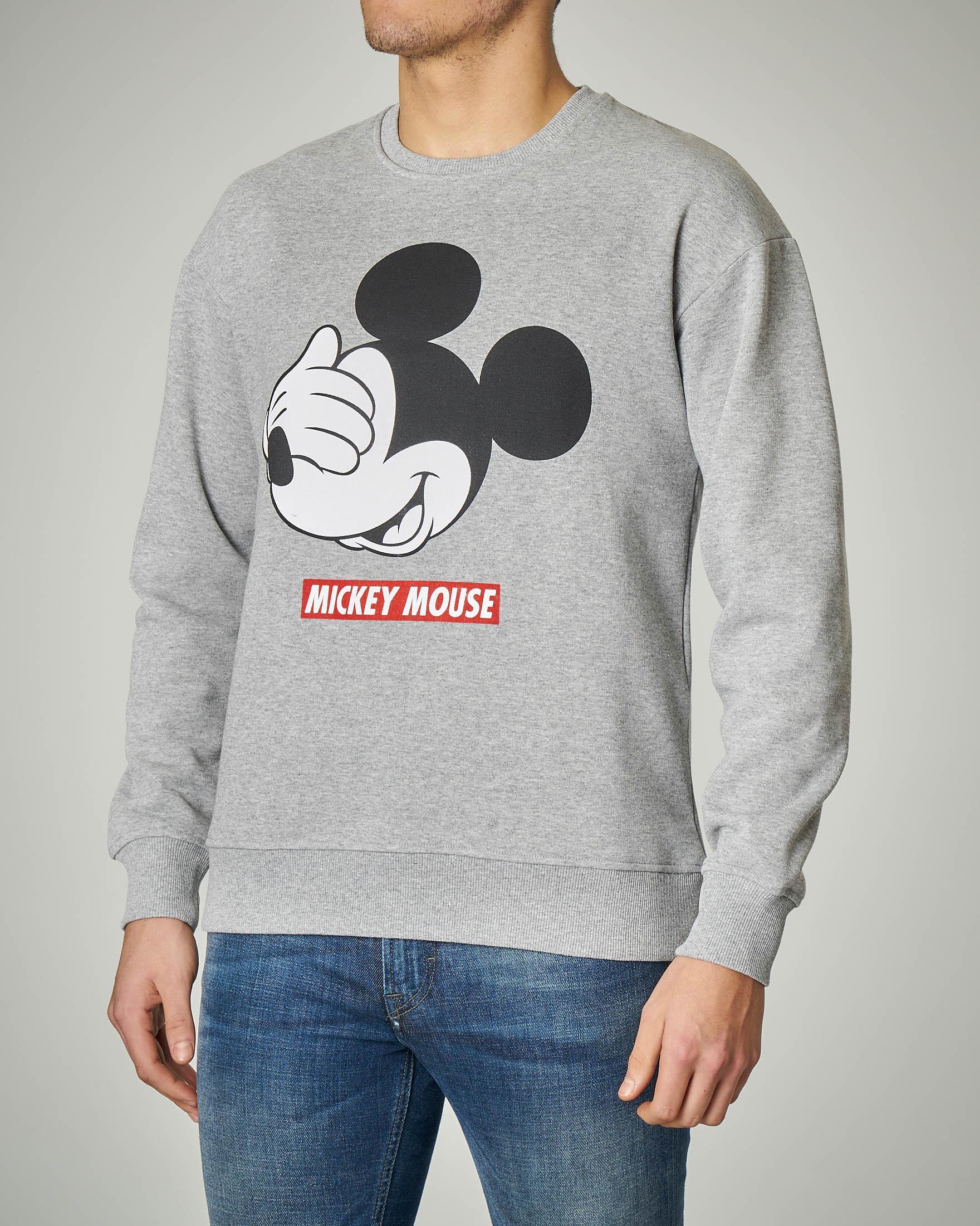 Felpa grigia girocollo Mickey Mouse