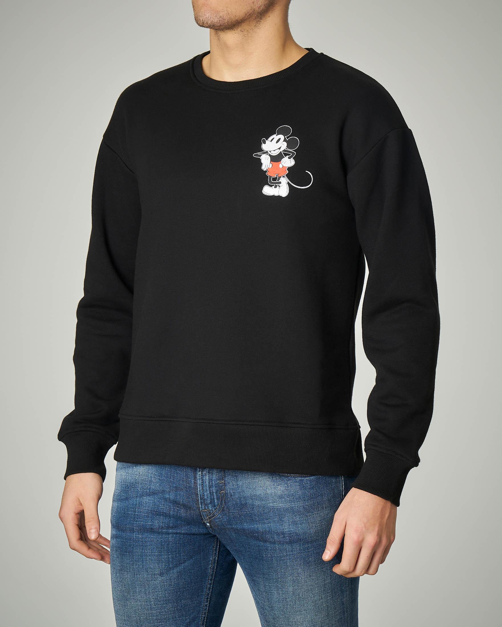 Felpa nera girocollo Mickey Mouse