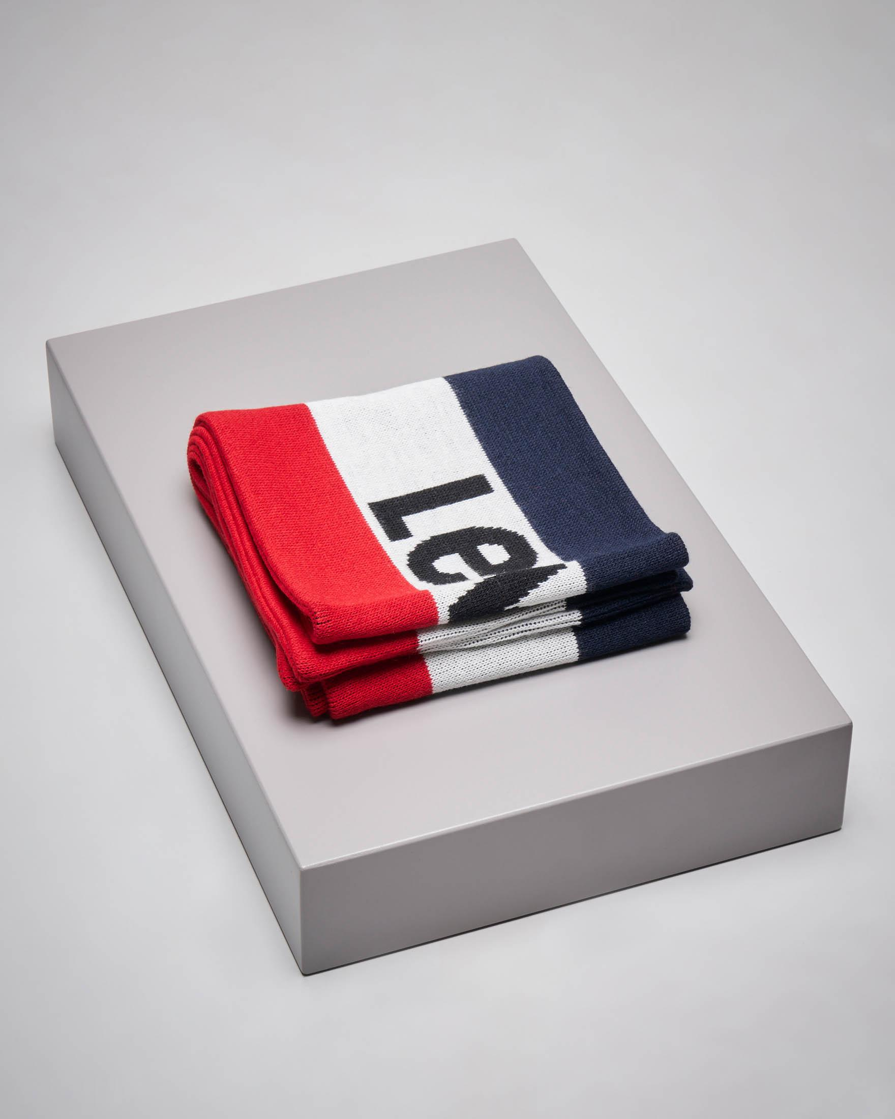 Sciarpa tricolore blu bianca e rossa con logo