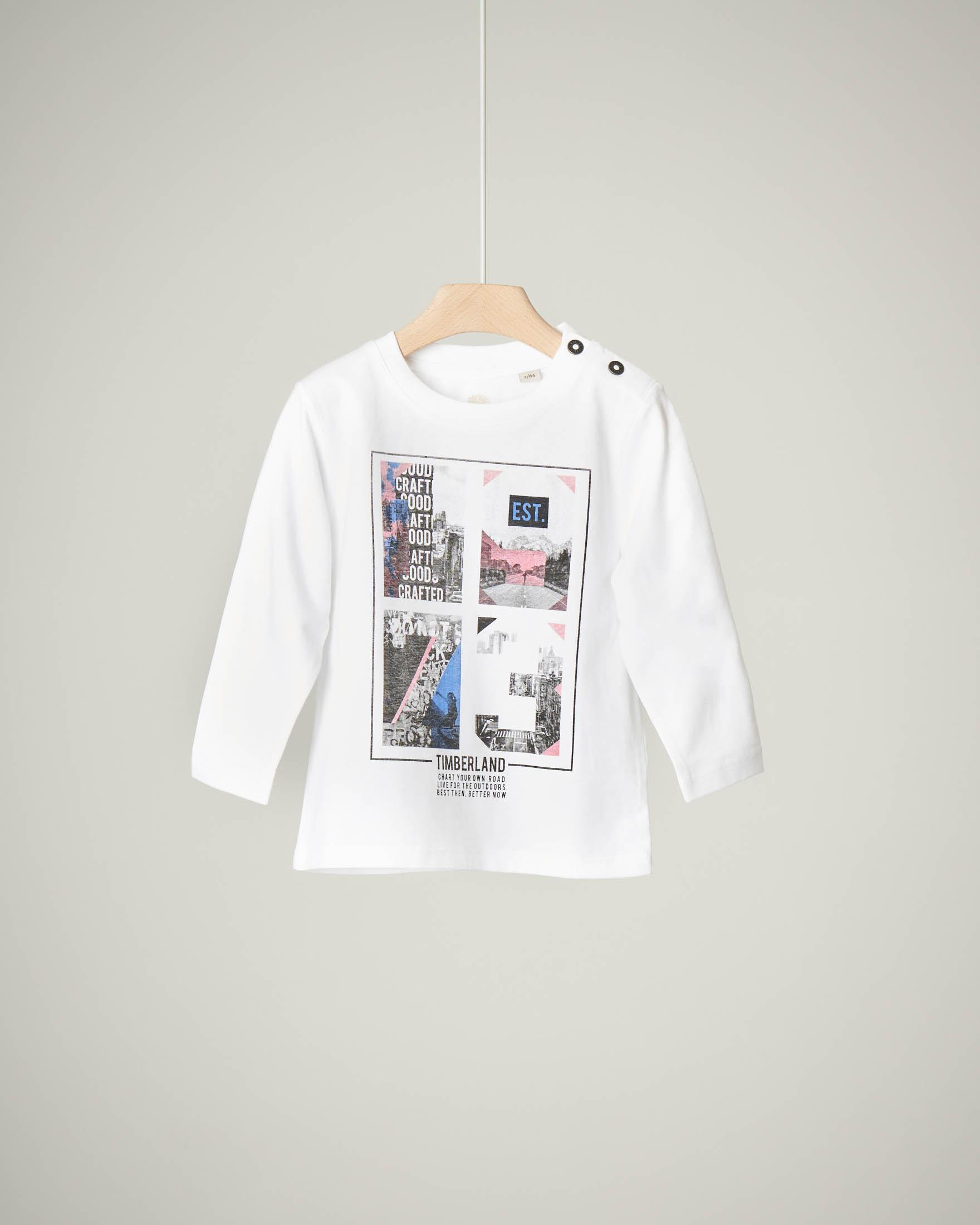 T-shirt bianca a manica lunga con stampa