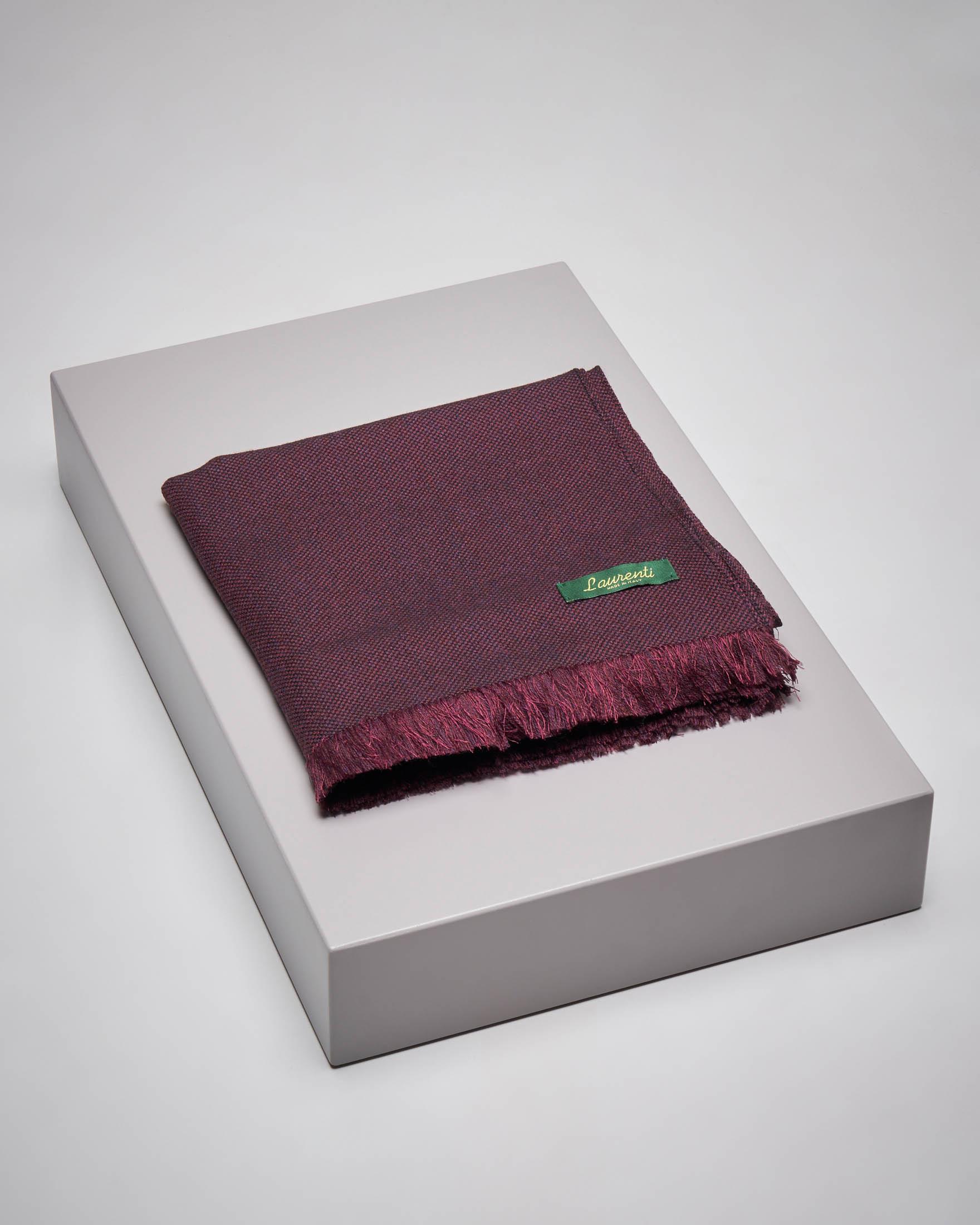 Sciarpa bordeaux micro-armatura in lana e seta