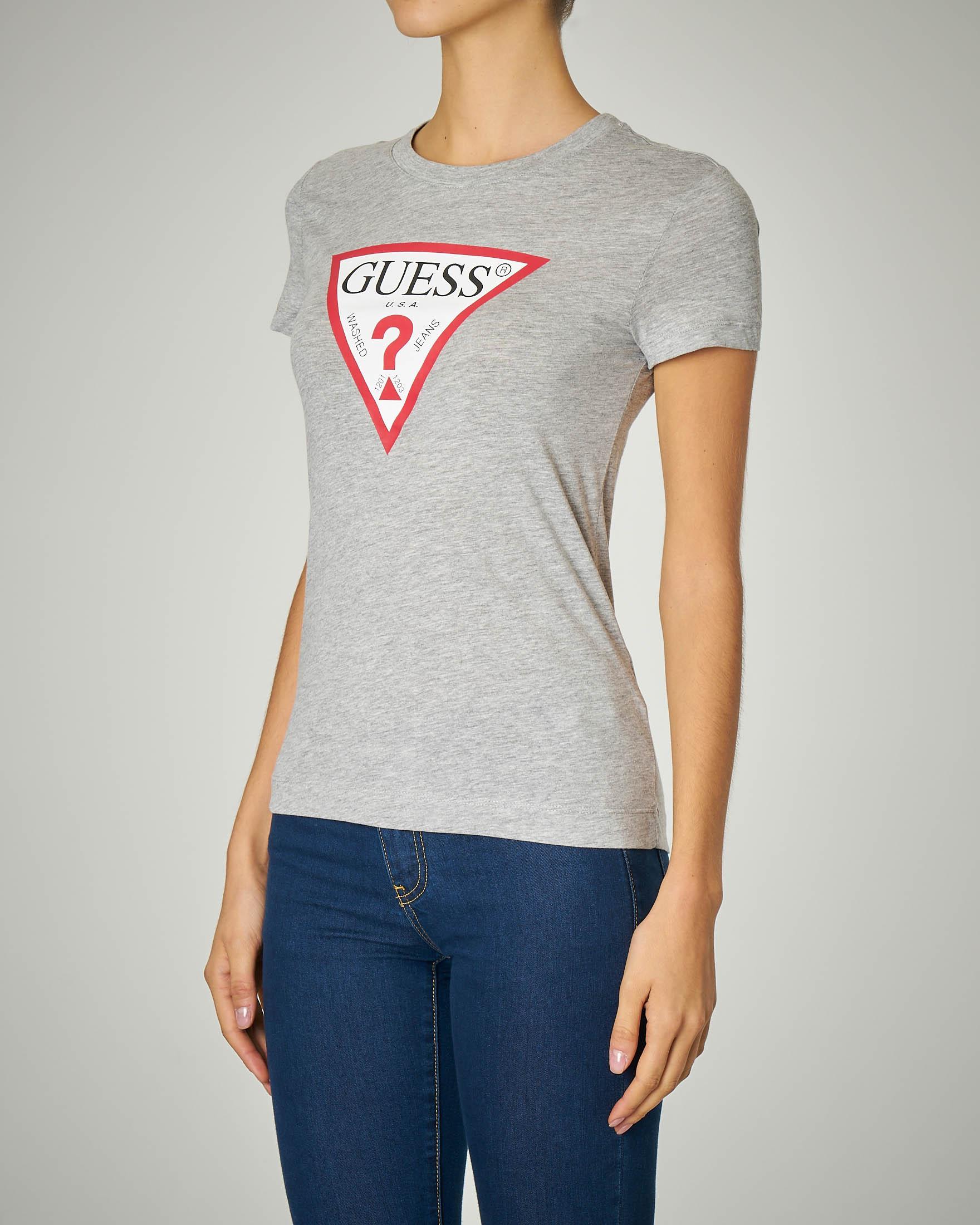 T-shirt grigia manica corta con stampa