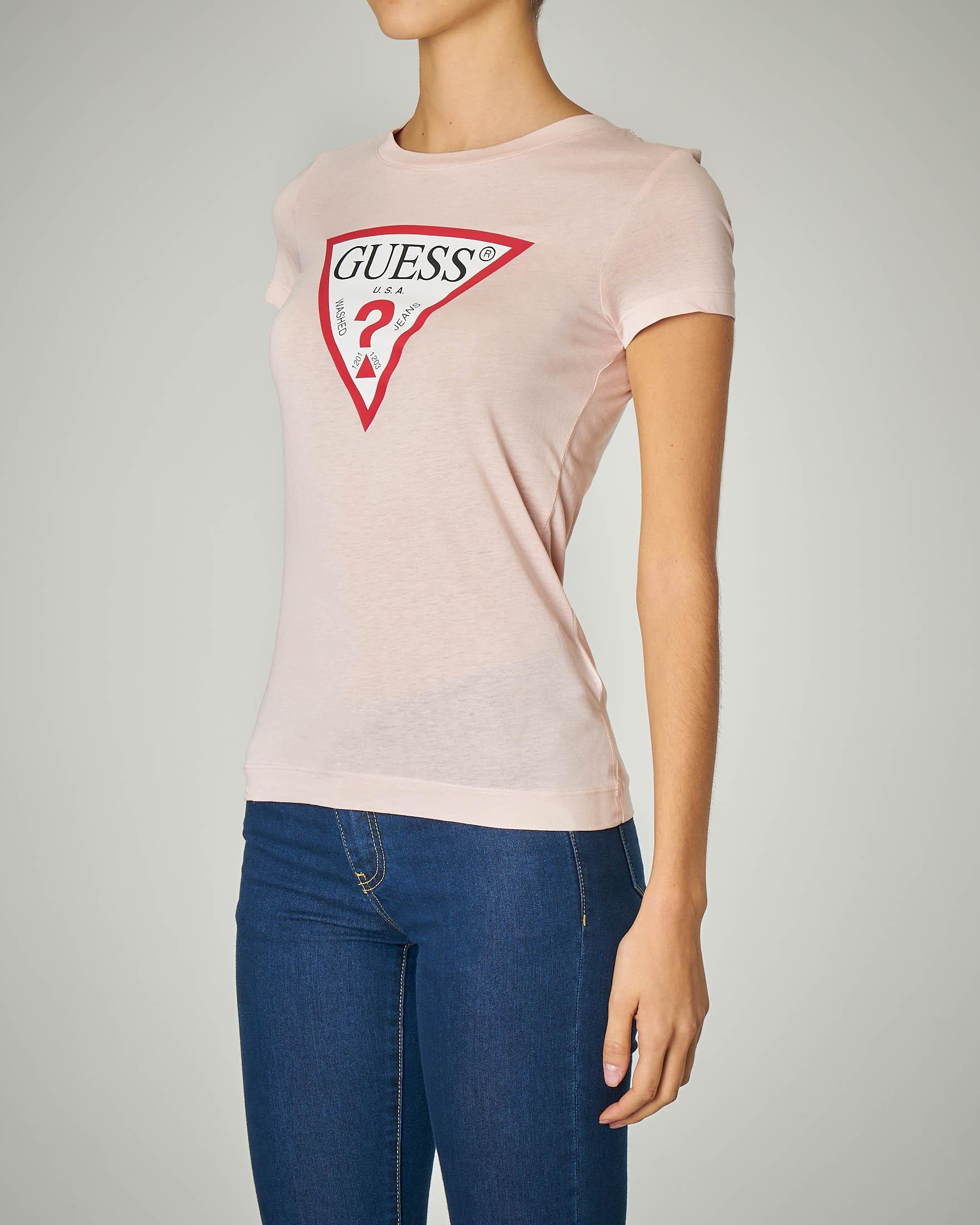 T-shirt rosa manica corta con stampa