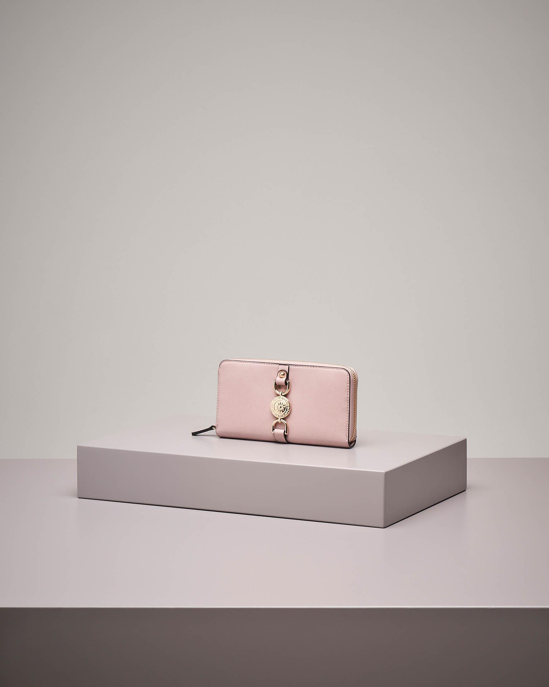 Portafoglio grande rosa con cerniera