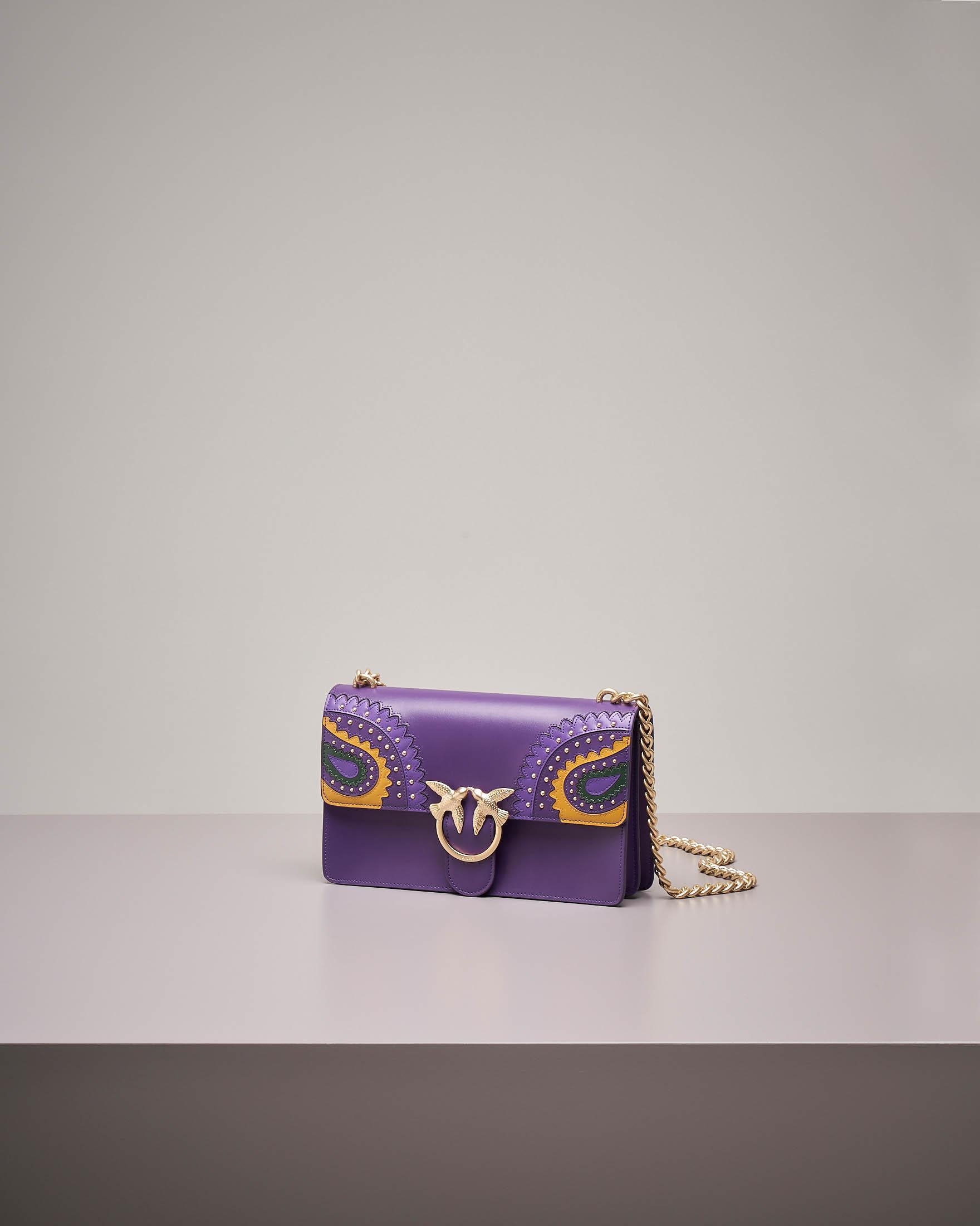 Love Bag Paislay: borsa tracolla con intarsi e borchie