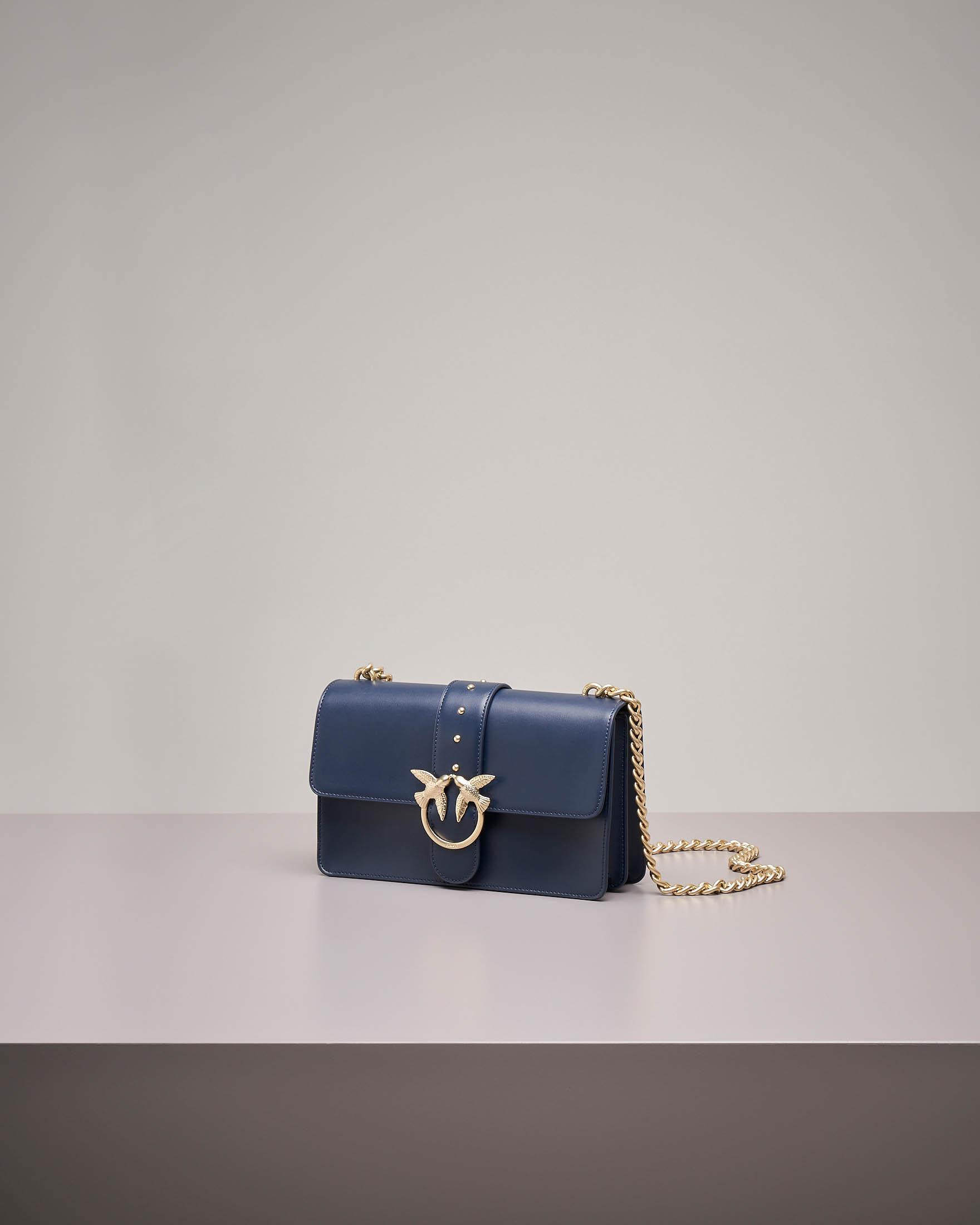 Love Bag: tracolla blu in vera pelle