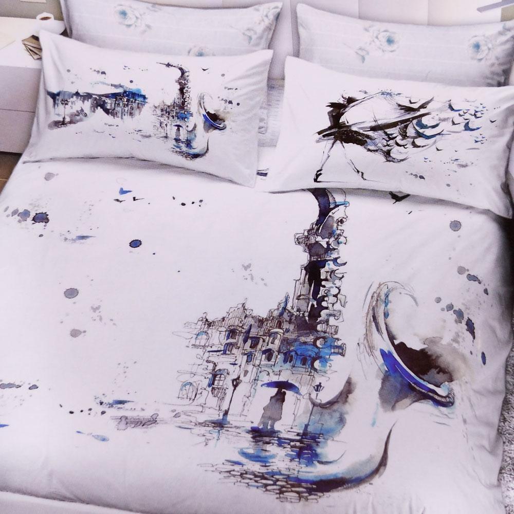 Sacco Copripiumino Matrimoniale Bianco.Set Copripiumino Matrimoniale 2 Piazze Graphic Time 1853 Bianco E Blu