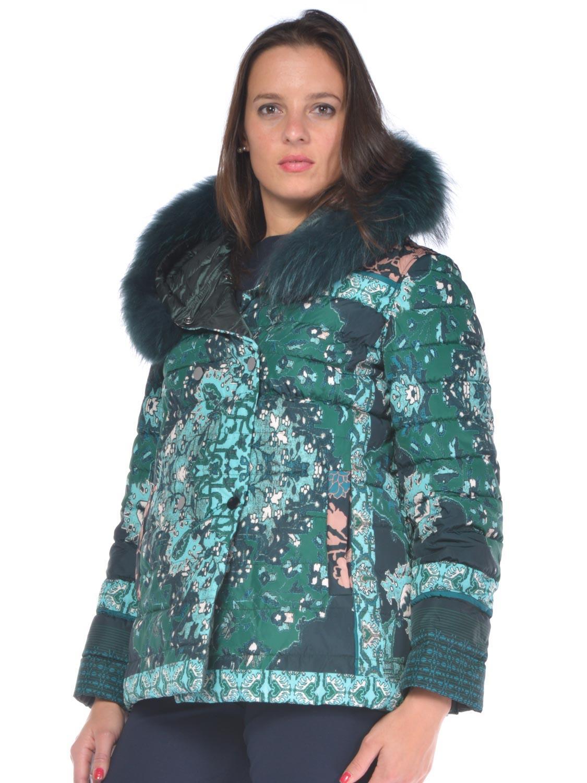 Giaccone donna Curvy Elena Miro  fantasia reversibile verde - RoncaStyle 7cf66a8329f