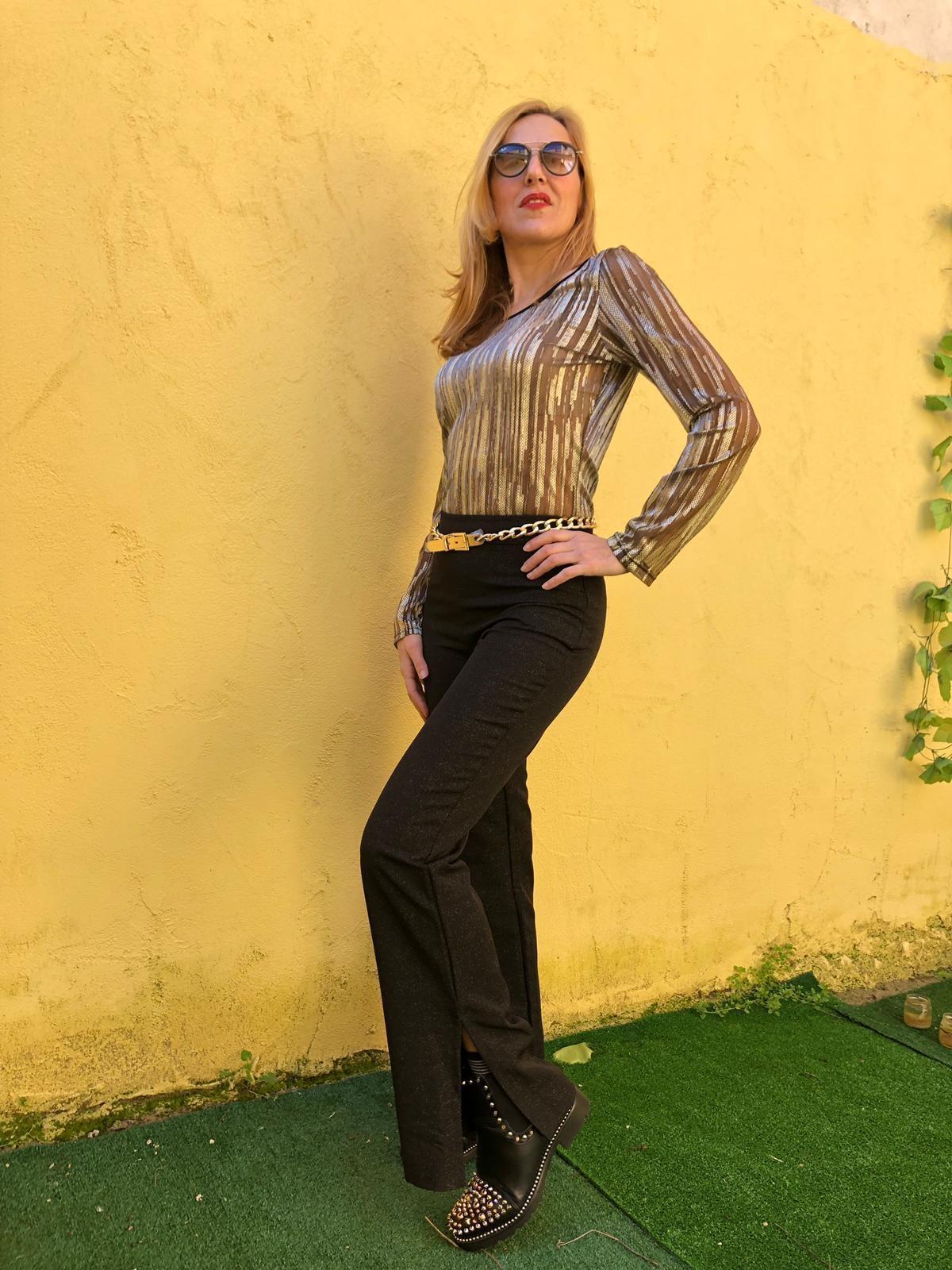 Pantalone con lurex Oroblu