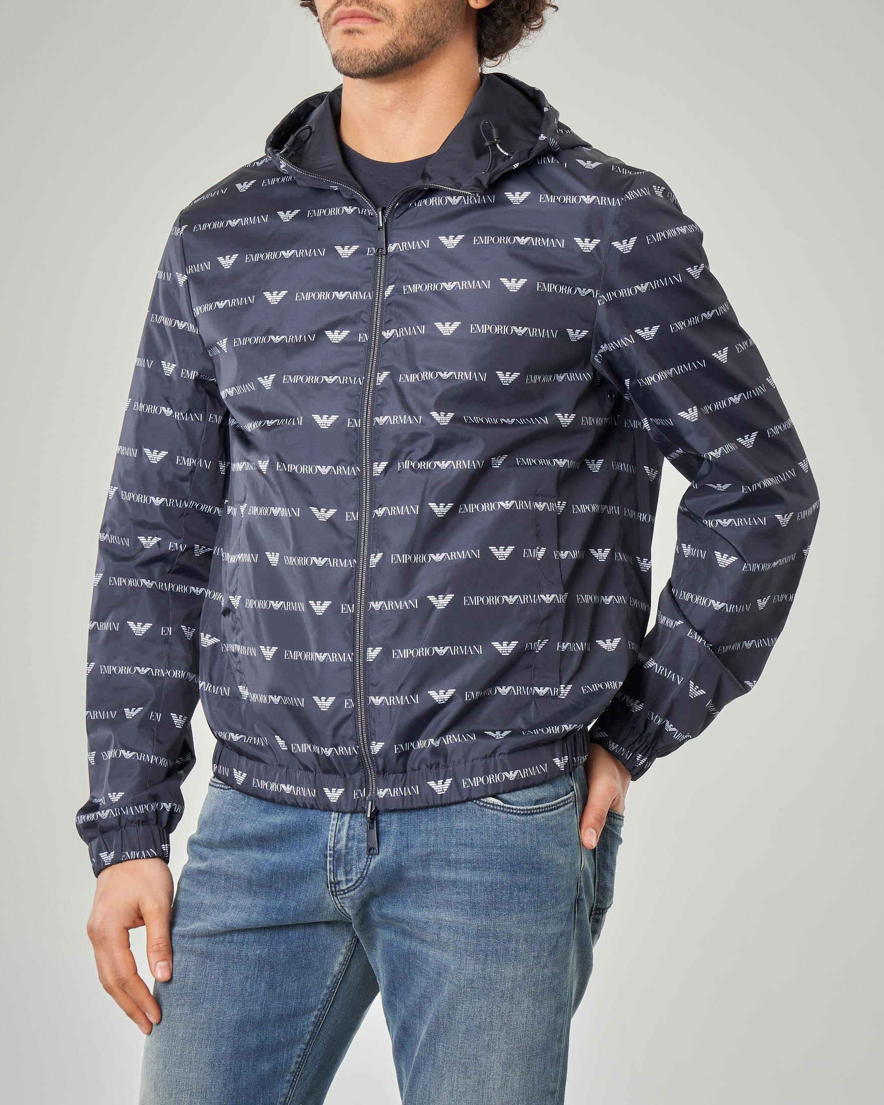 Giacca blu reversibile con cappuccio e zip