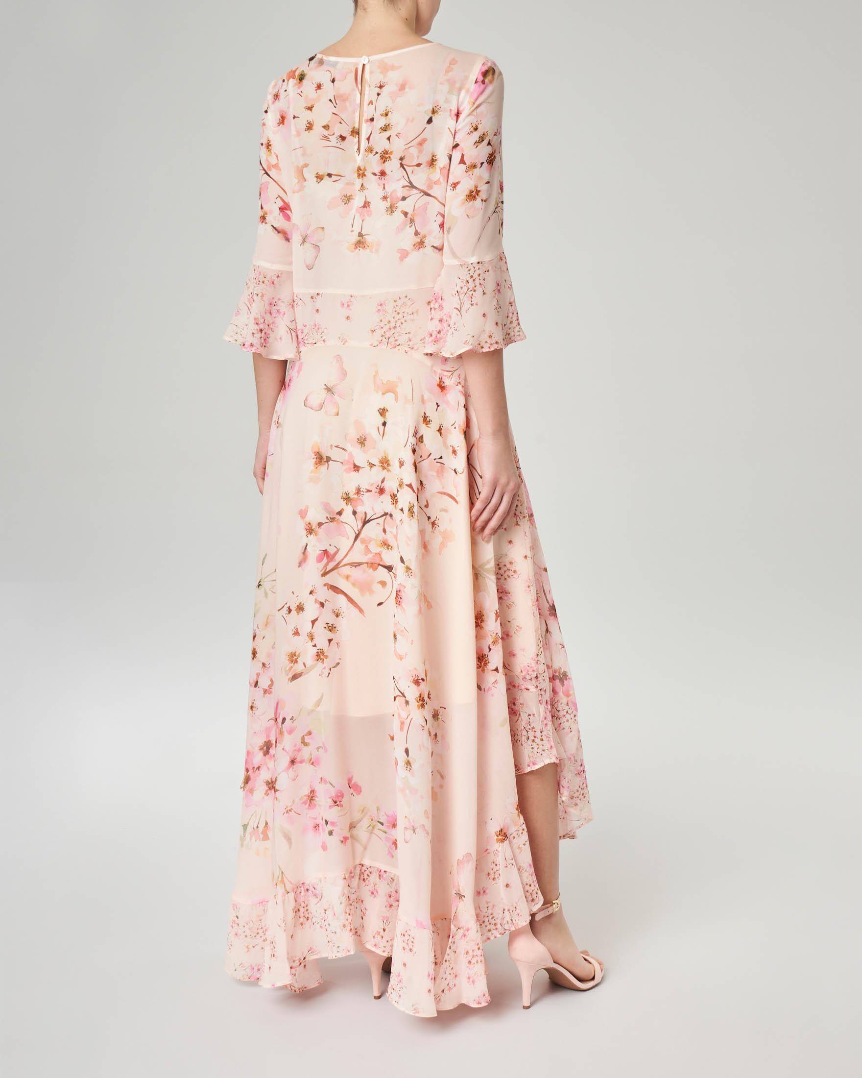 Abito lungo rosa in georgette a fantasia floreale