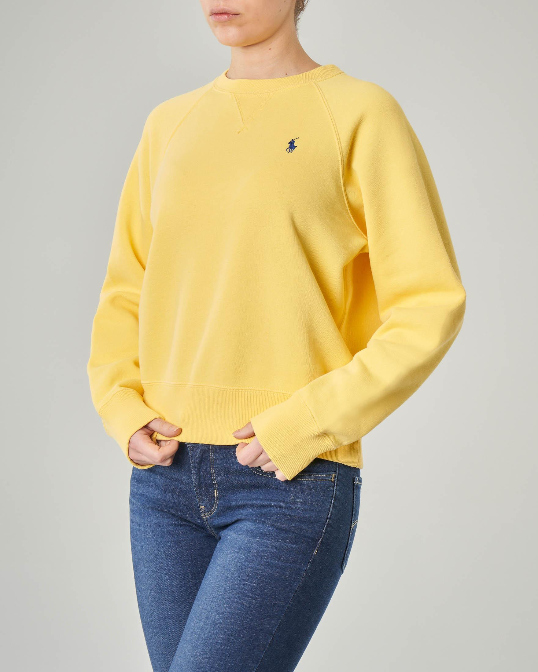 Felpa gialla girocollo in jersey di cotone
