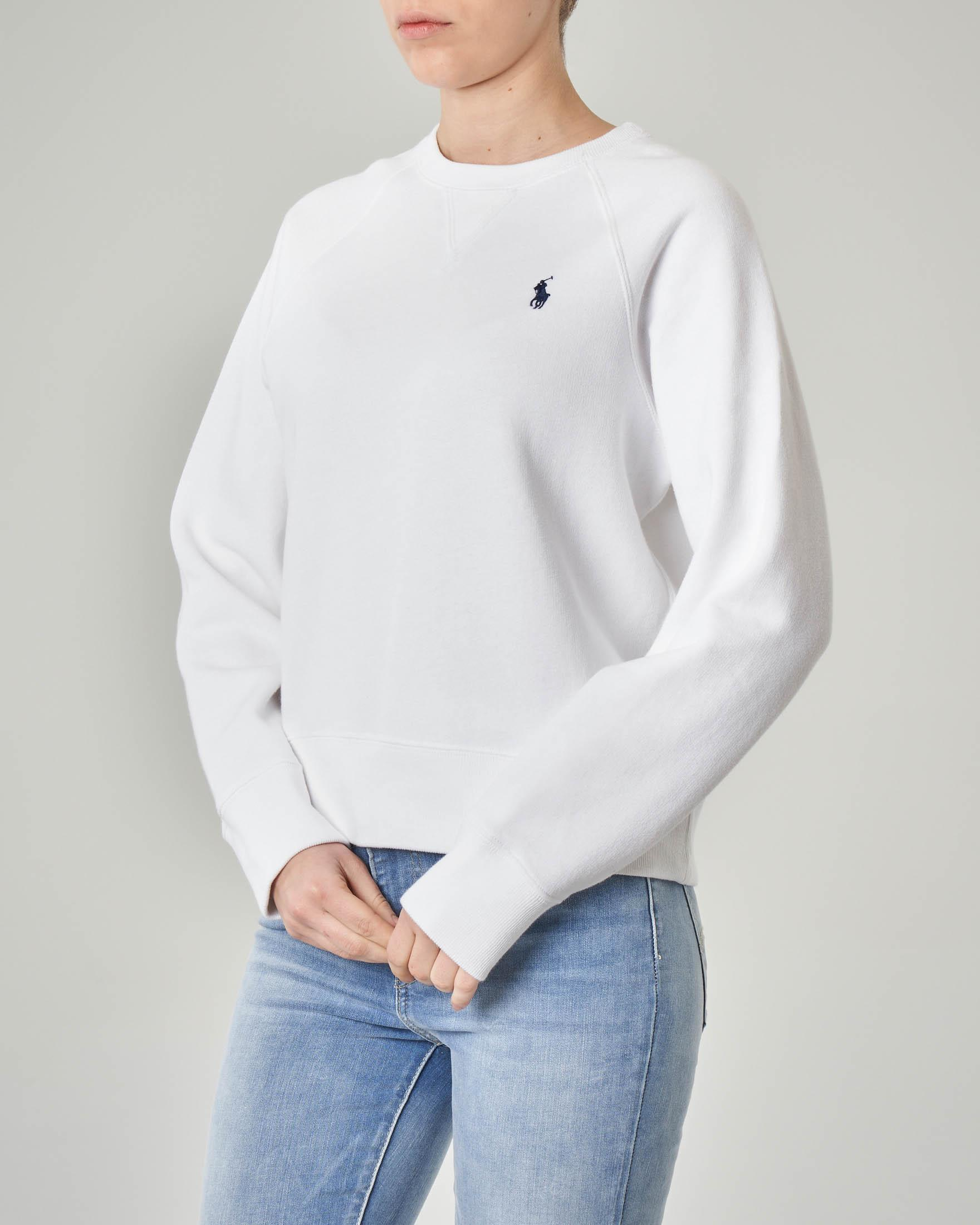Felpa bianca girocollo in jersey di cotone