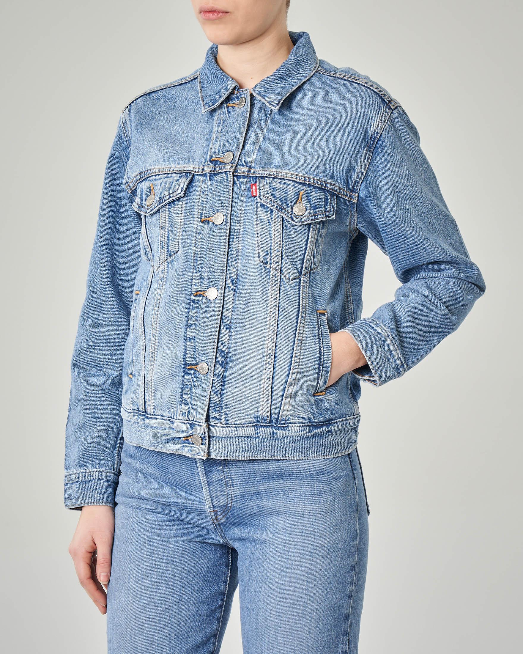 Giacca Trucker in jeans blu chiaro