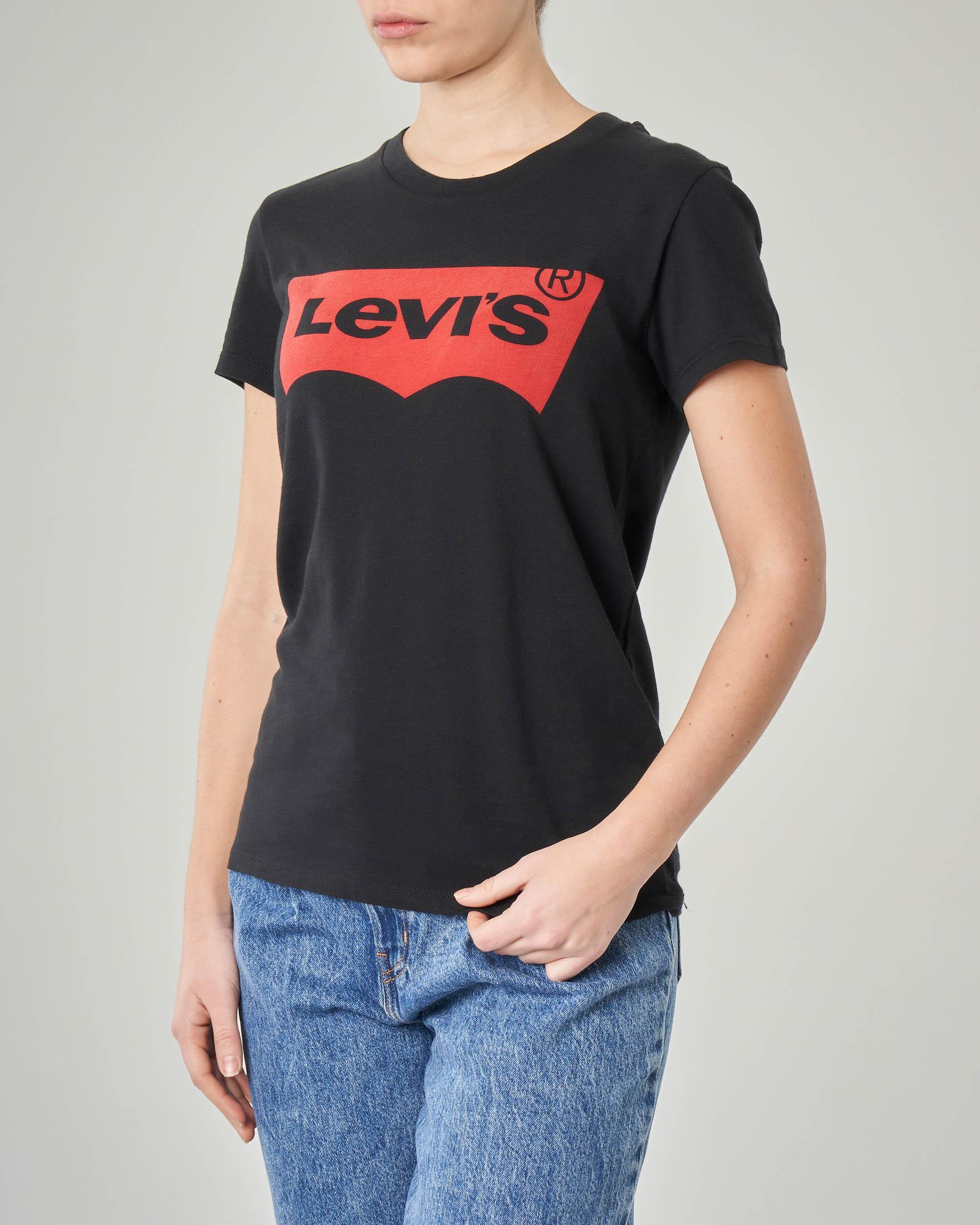 T-shirt nera manica corta con logo