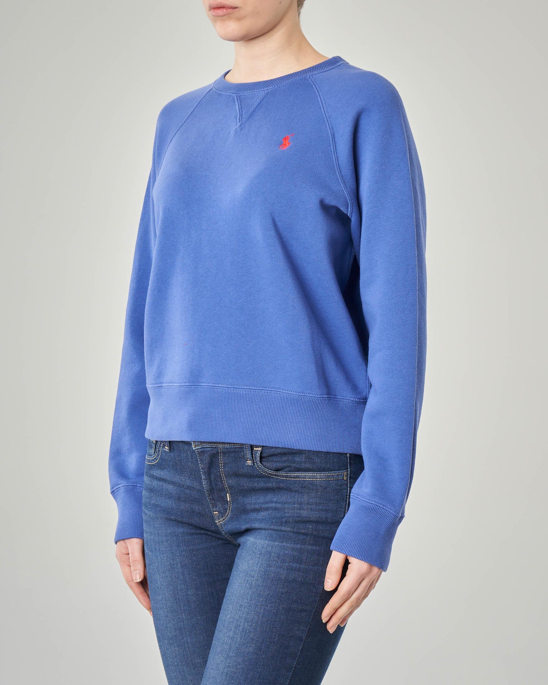 Felpa blu royal girocollo in jersey di cotone