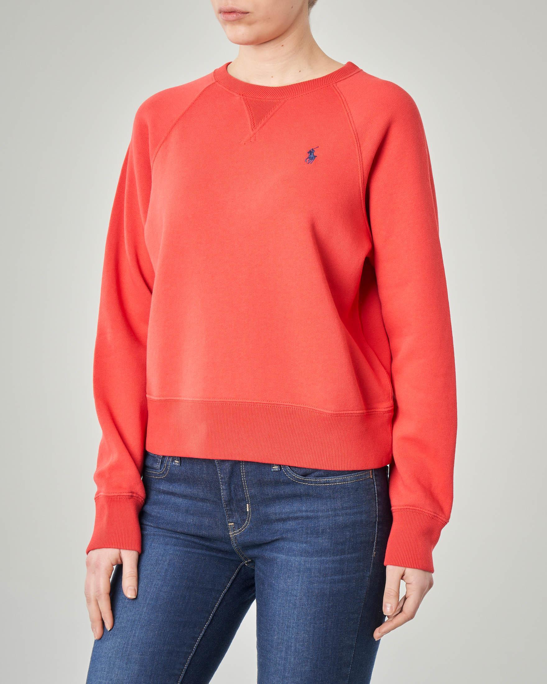 Felpa rossa girocollo in jersey di cotone