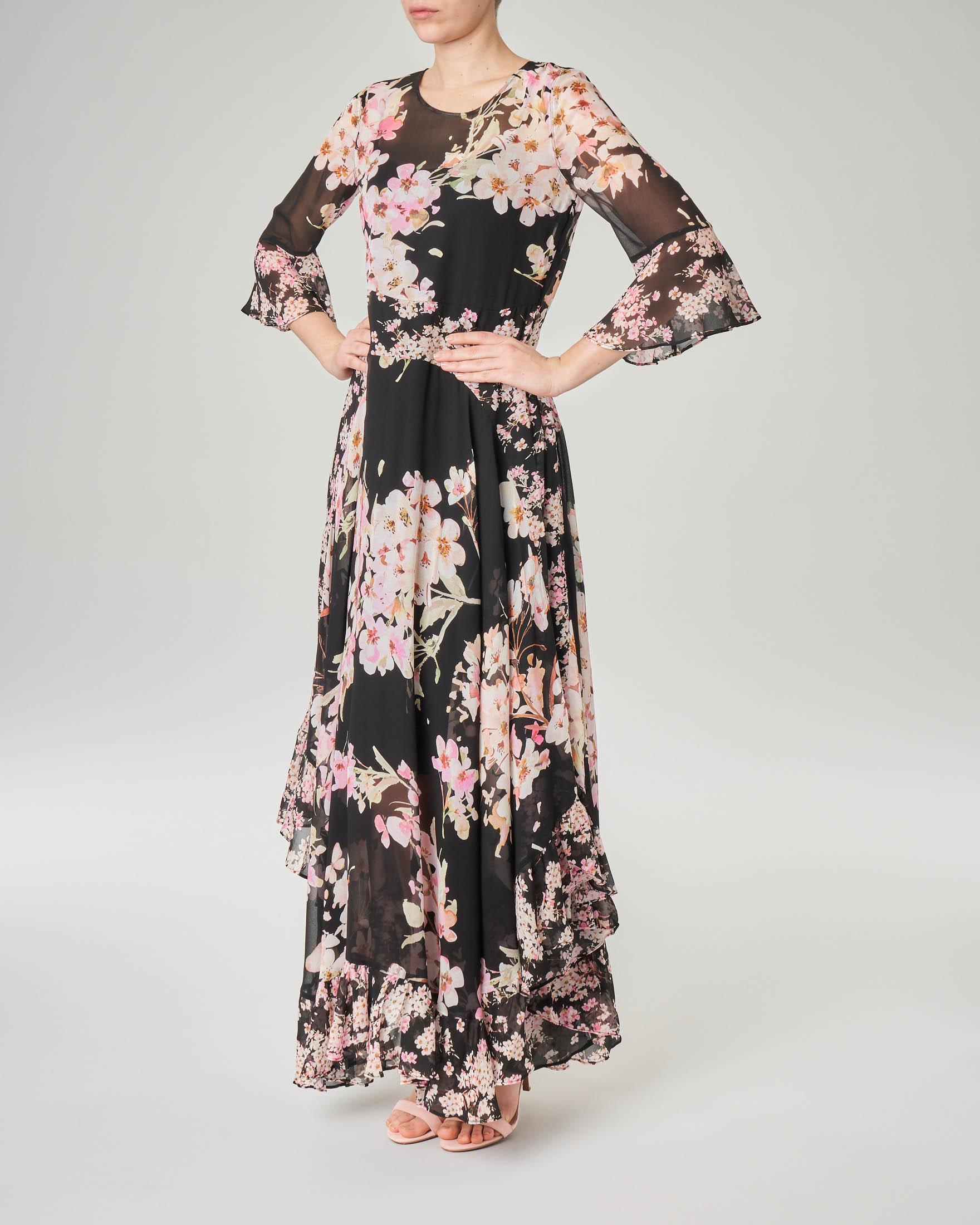 Abito lungo nero in georgette a fantasia floreale rosa