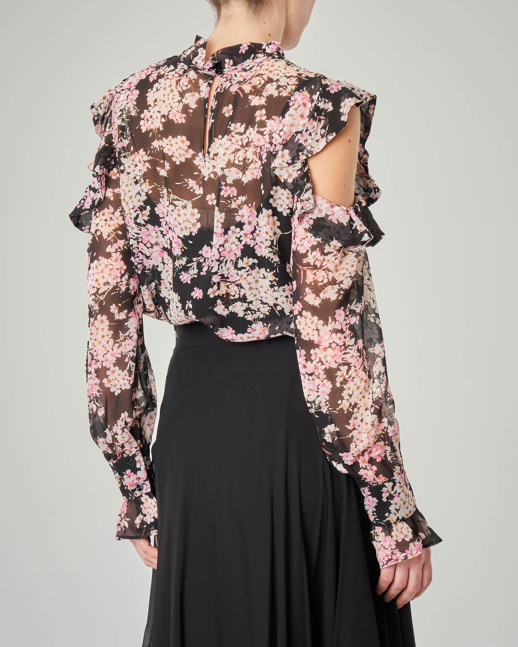 Camicia maniche lunghe in georgette di viscosa nera a fantasia floreale