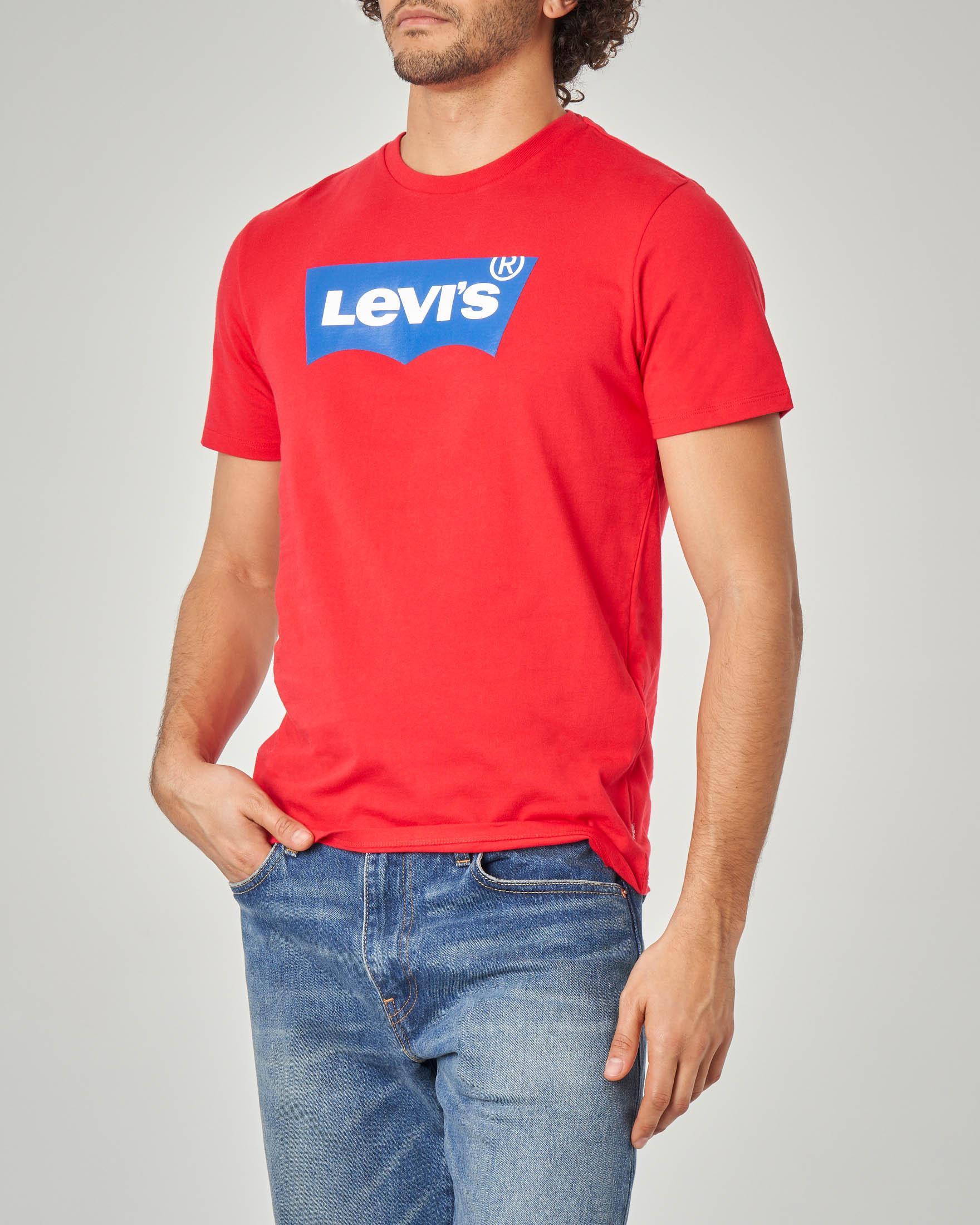 T-shirt rossa con logo batwing gommato