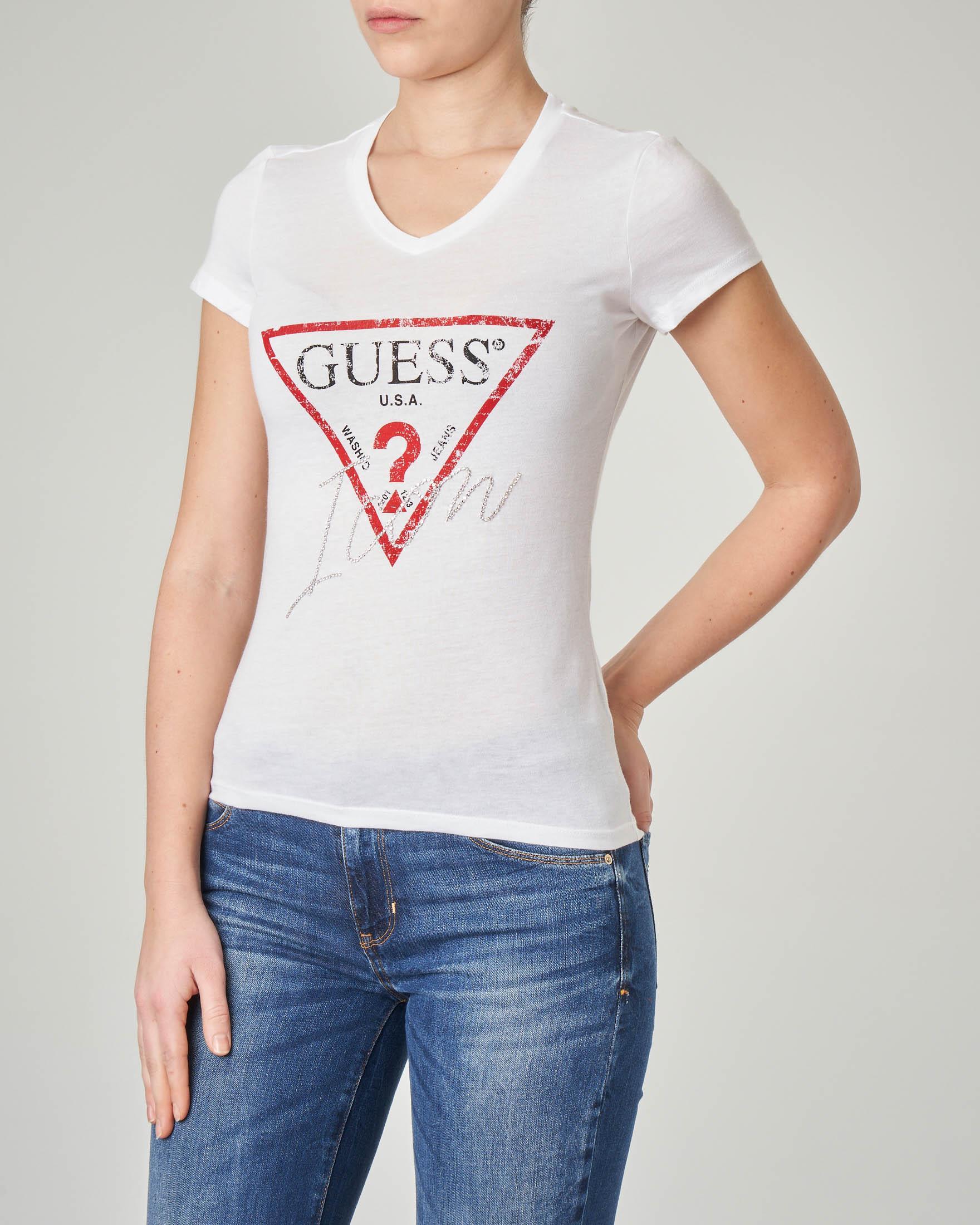 T-shirt bianca scollo a V e scritta con strass