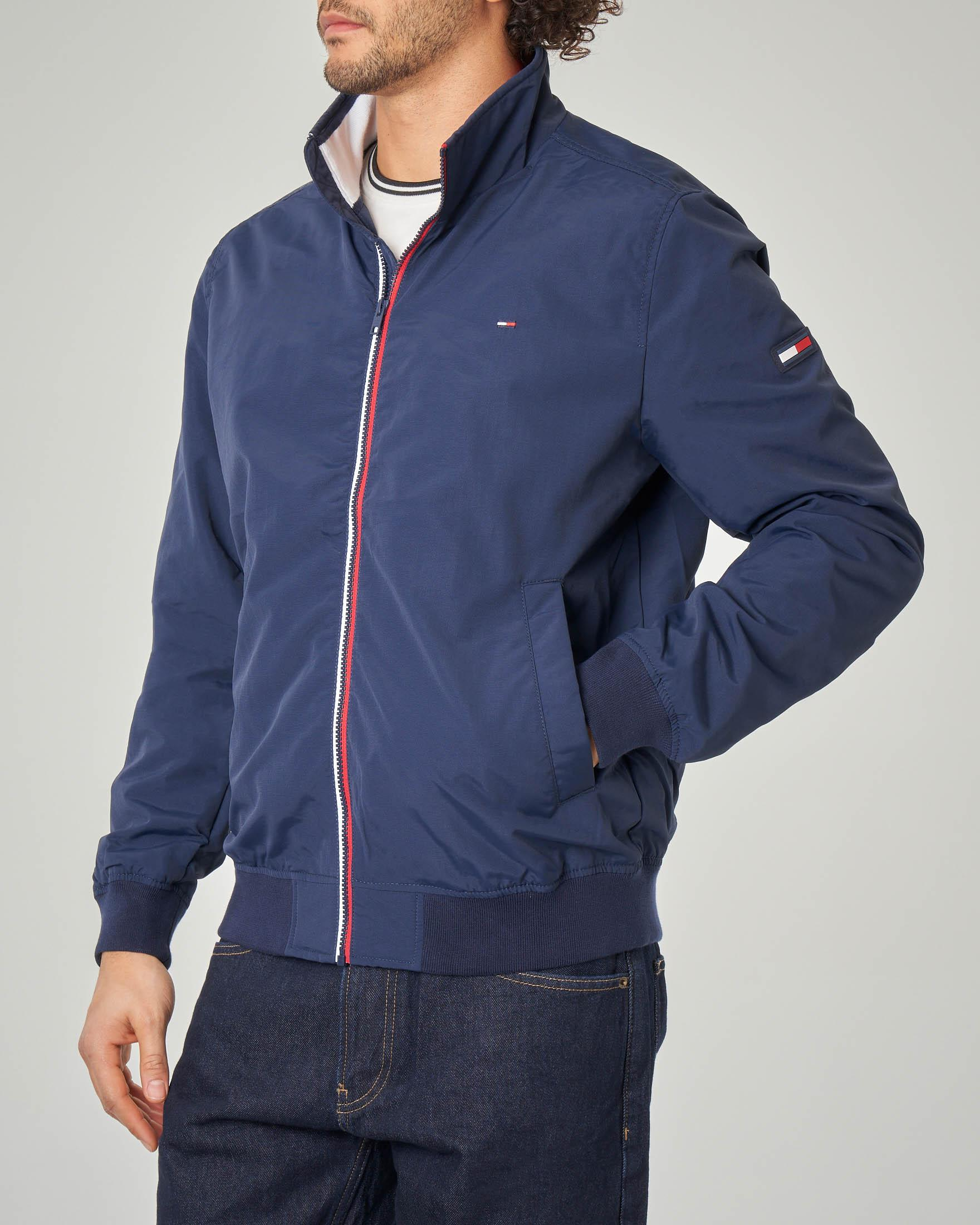 Giacca sailor blu con zip in contrasto