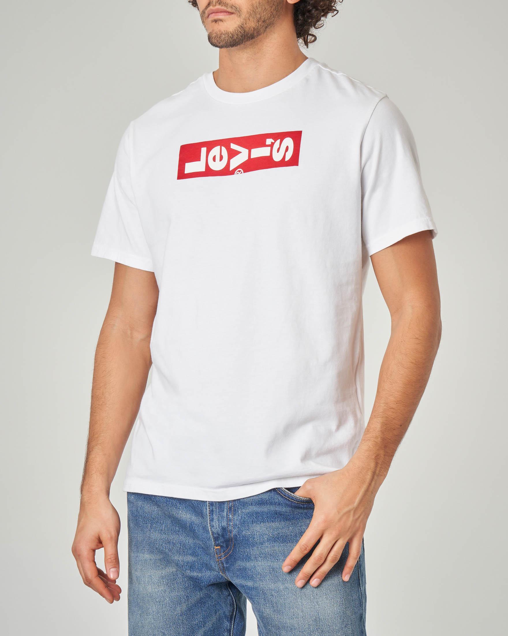 T-shirt bianca con logo rovesciato