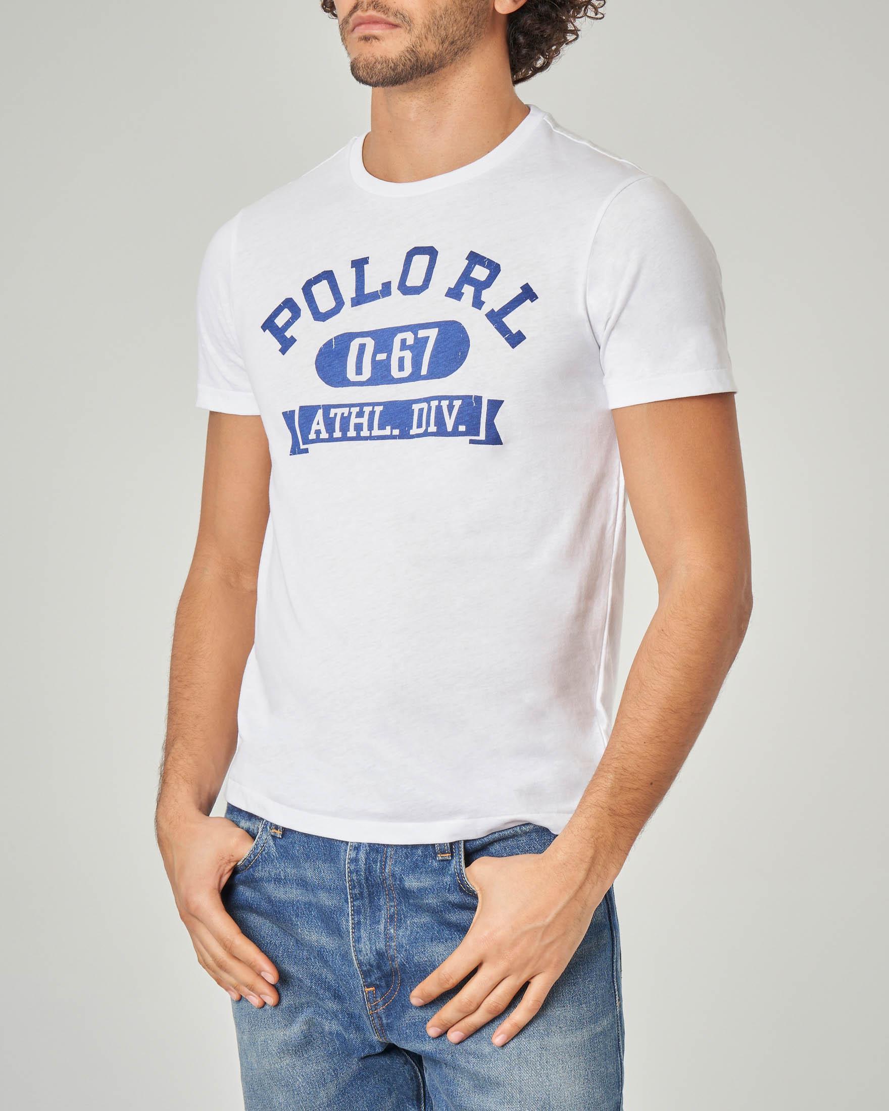 T-shirt bianca con scritte Polo RL blu