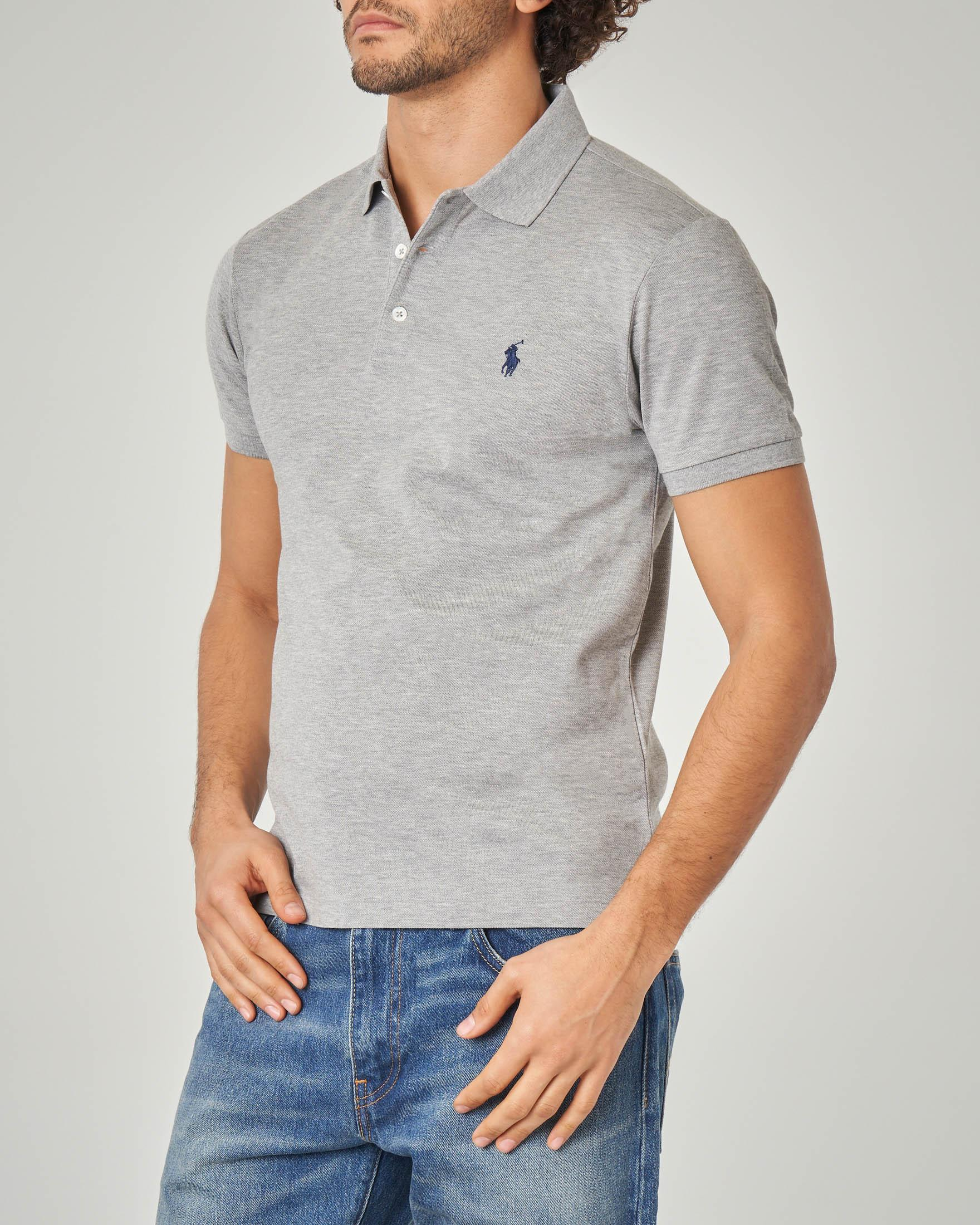 Polo grigia stretch slim-fit