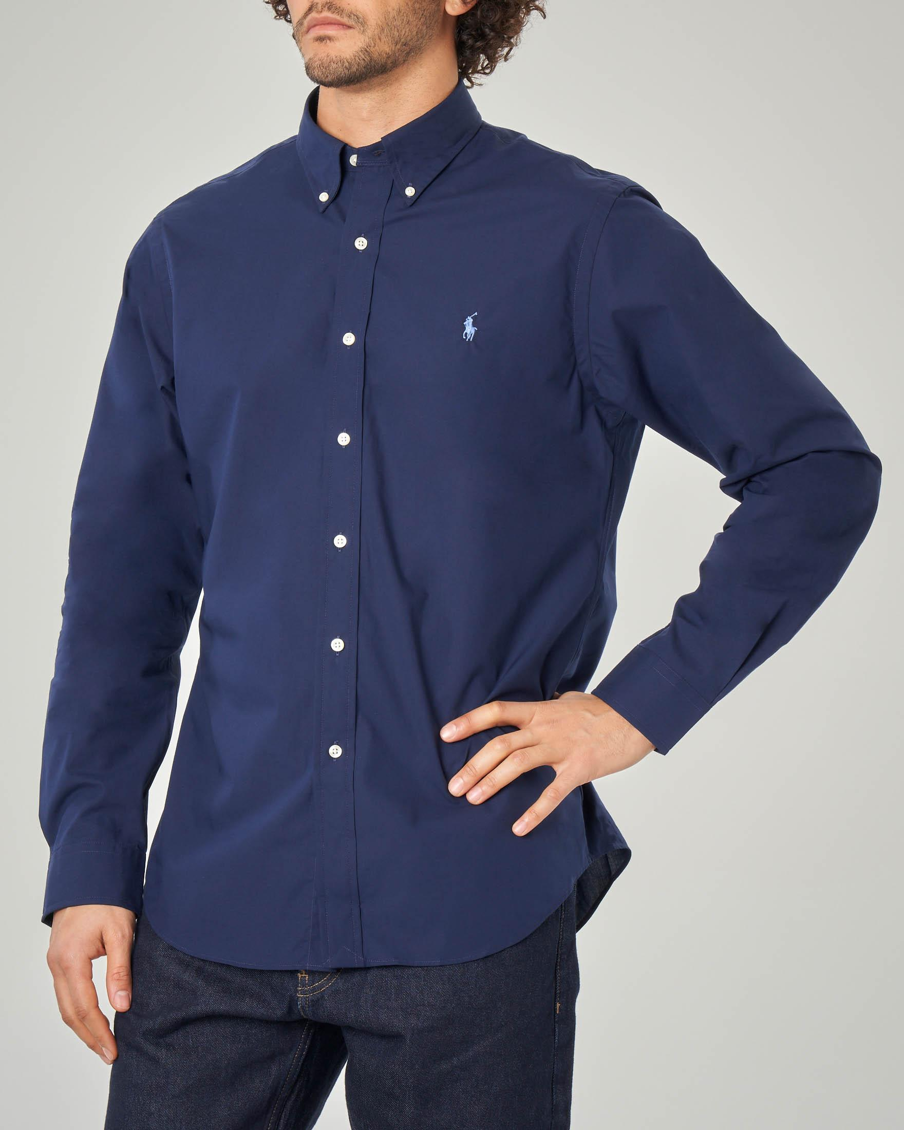 Camicia blu button down in popeline stretch