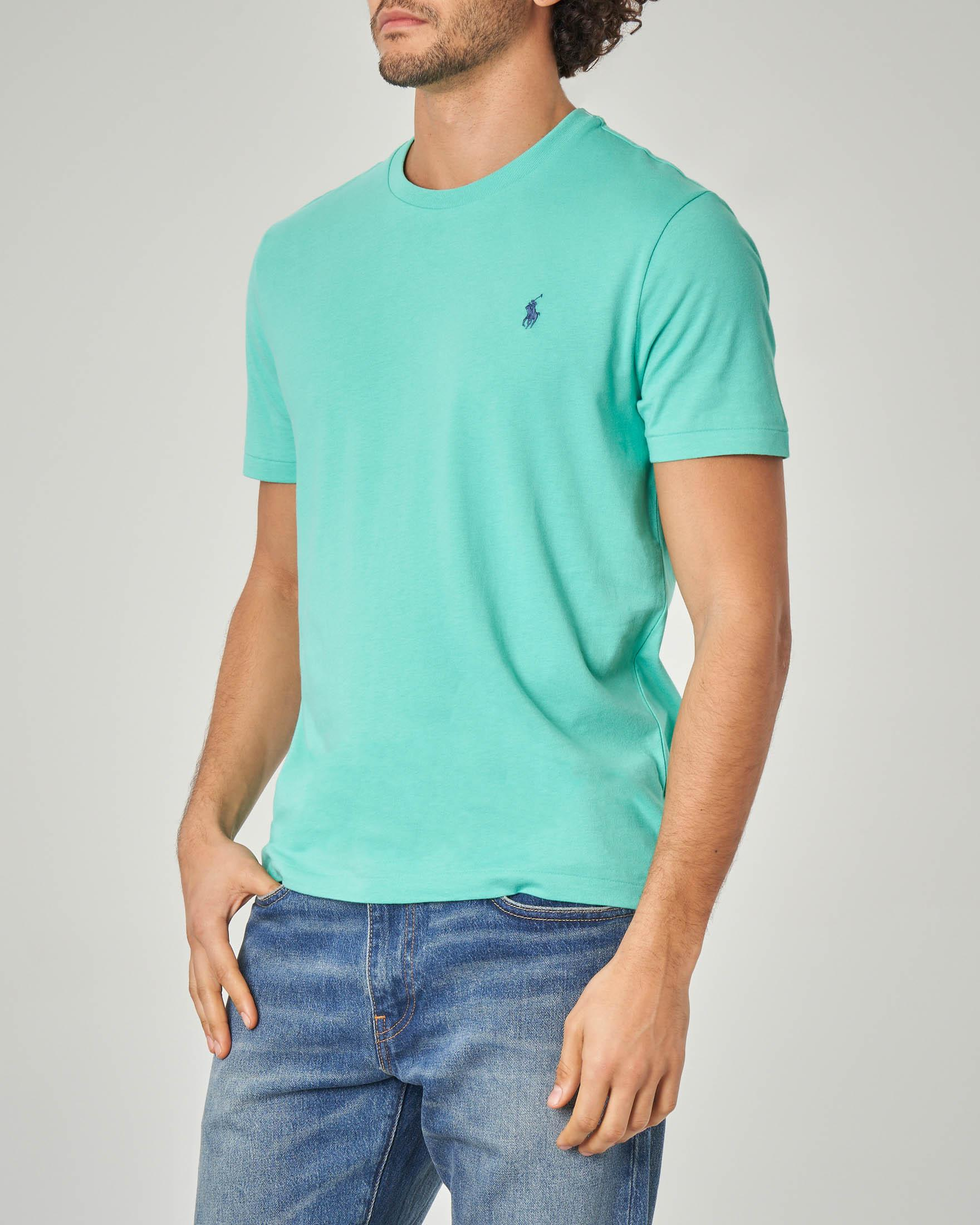 T-shirt verde acqua con logo blu