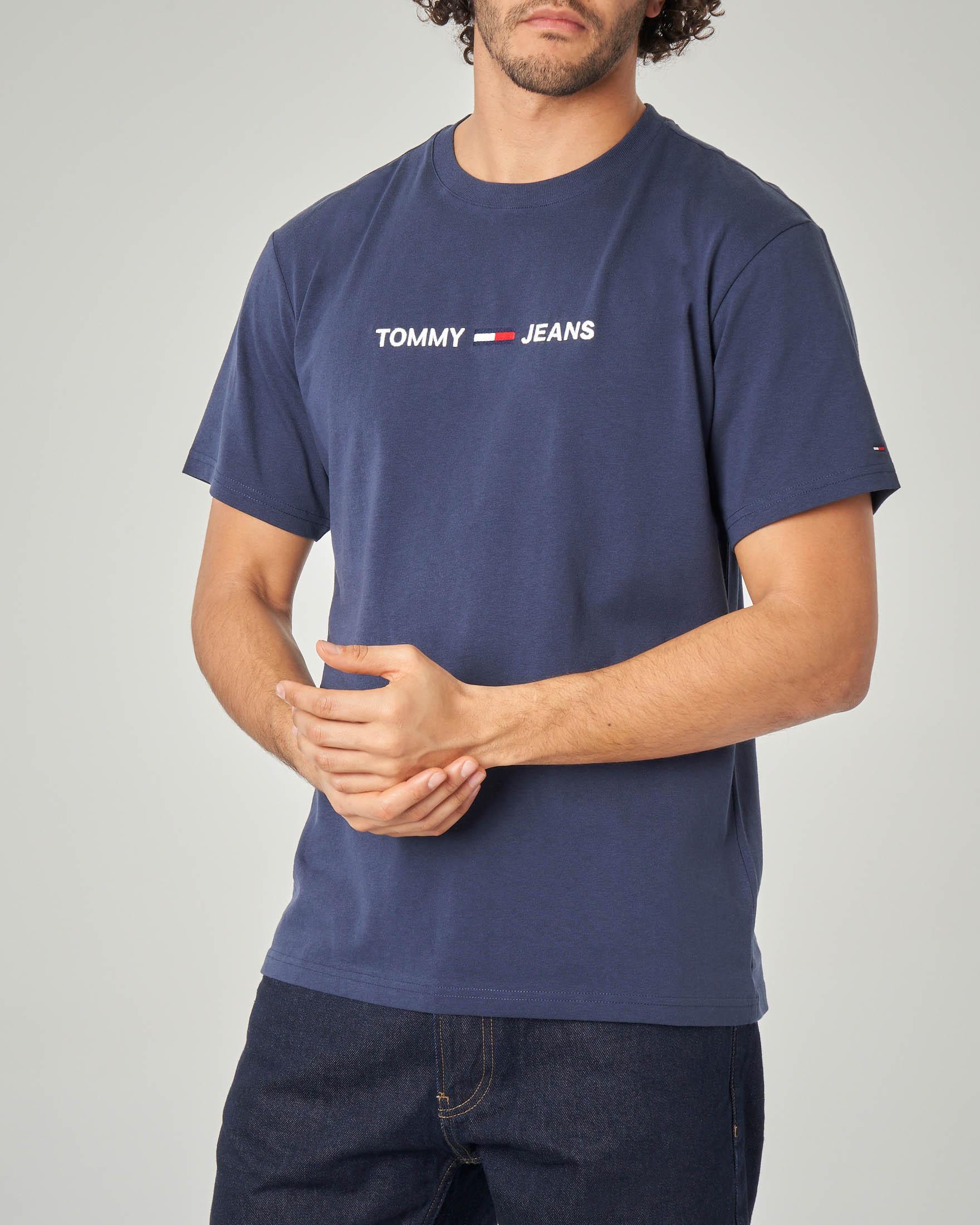 T-shirt blu con logo