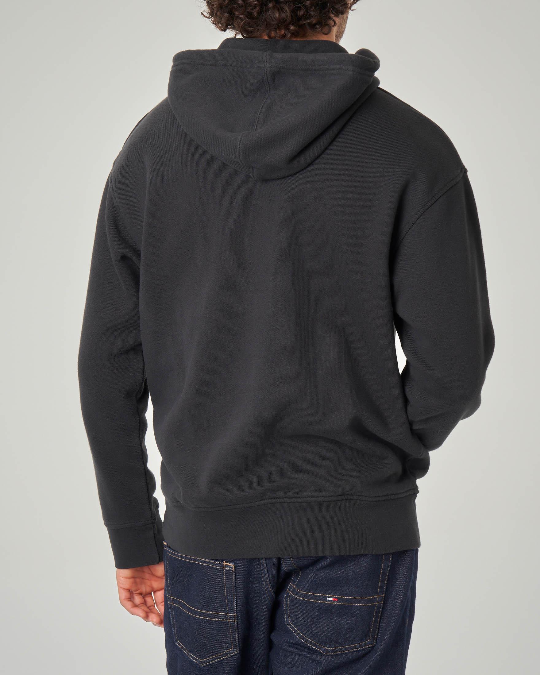 Felpa nera con cappuccio e logo in spugna | Pellizzari E
