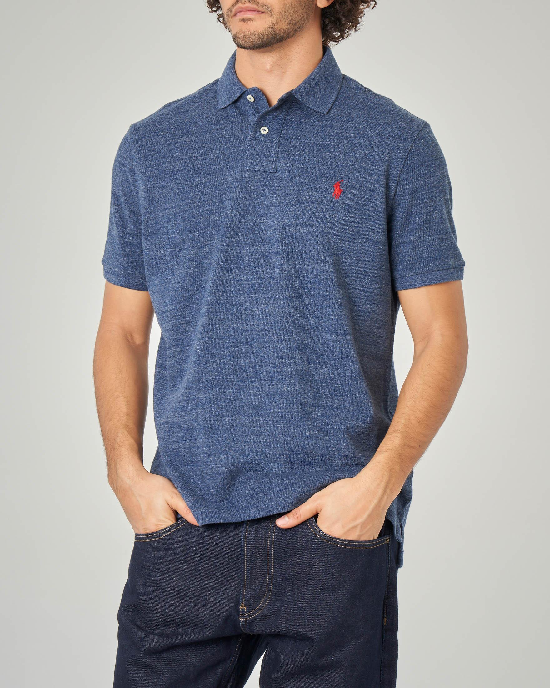 Polo indaco melange custom slim-fit